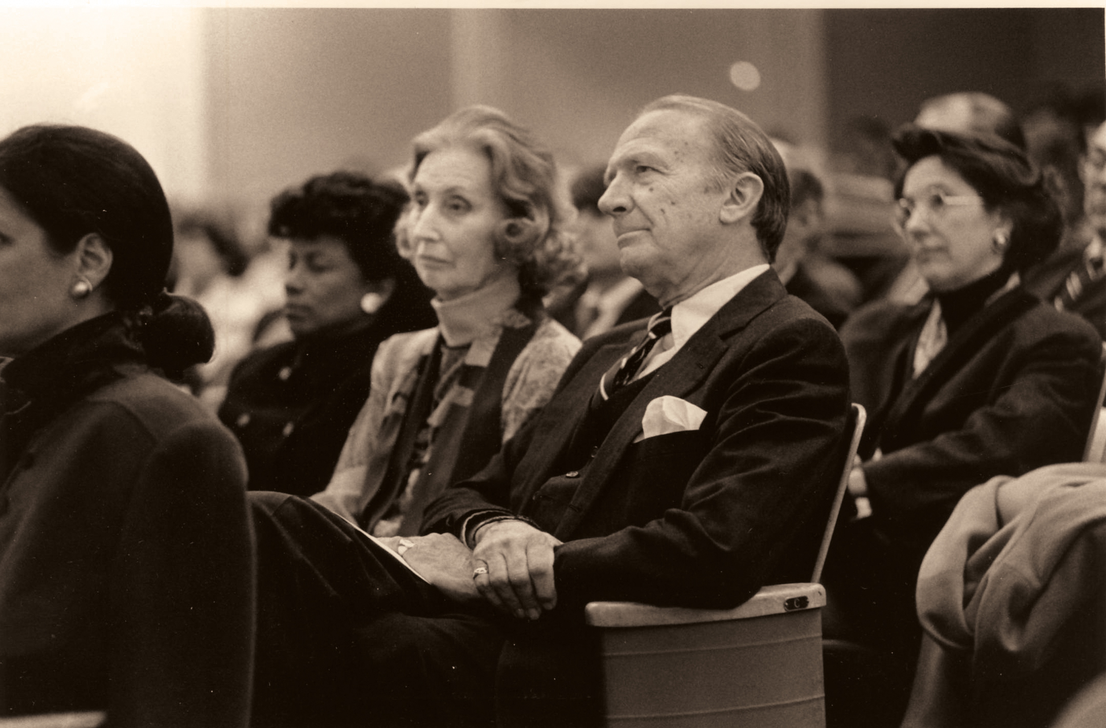 Priscilla and Kelly Clark listen to Robert Stern's lecture, during the April 20, 1991, Ohrstrom Library dedication.