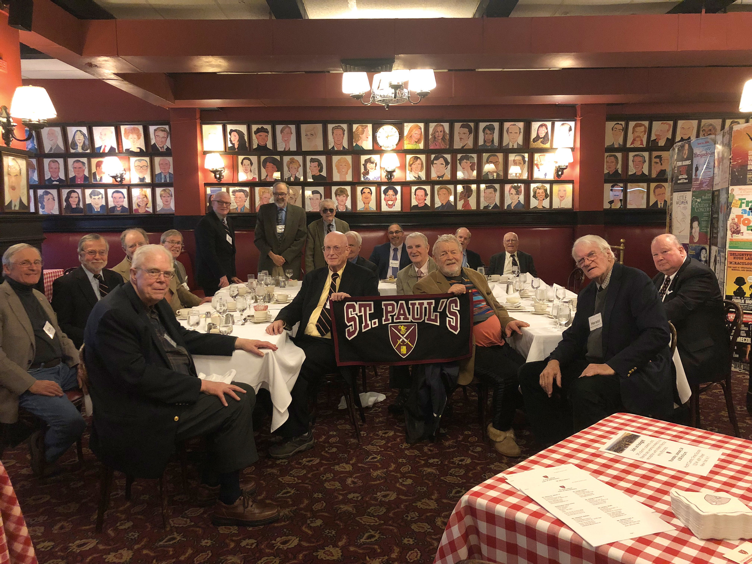Lunch at Sardi's in New York: Nick Platt '53, Peter Swords '53, Ed Harding '54, Jim Righter '54, Reeve Schley '54, John Holbrook '55, John Horan '55, J. Paul Horne '55, Nat Howe '55, Jake Roak '55, Dyer Wadsworth '55, Bob Webber '55, Rennie Atterbury '56, Larry Bogart '56, Mike Hershey '56, Harald Paumgarten '56, and John Schley '56.