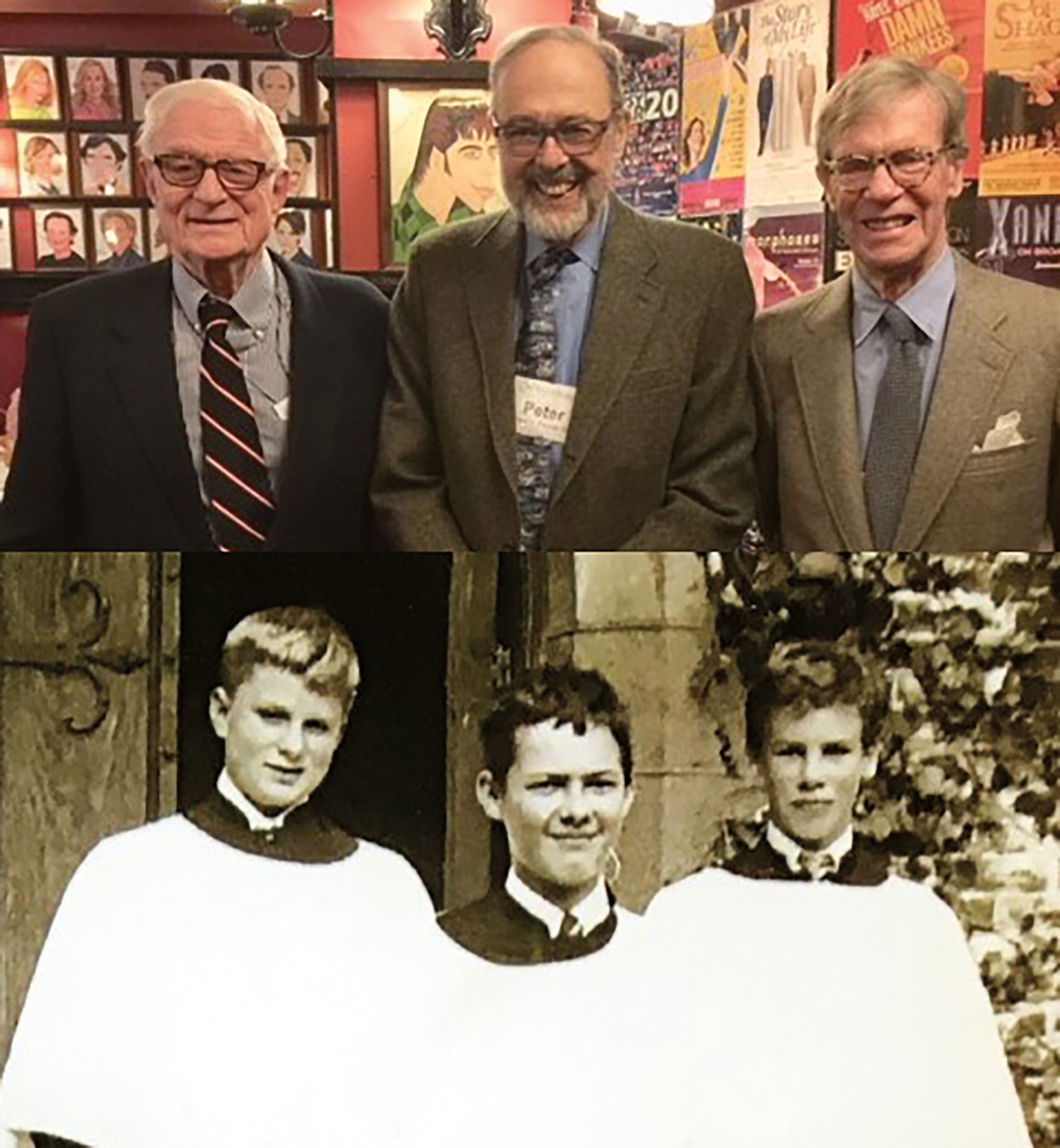 Longtime friends (l. to r.) Nick Platt '53, Peter Swords '53, and Jim Righter '54 have taken photos together over the years (always in the same order) since they were young choristers in Millville.