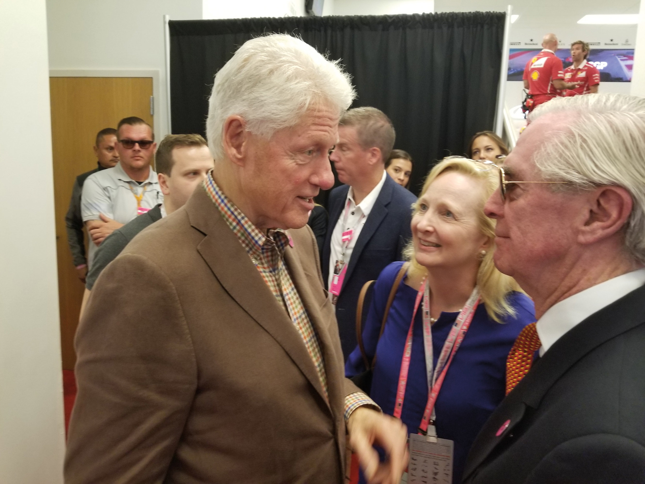 Nick Craw '55 with Bill Clinton at the trophy presentation for a Formula 1 racing event in Texas.