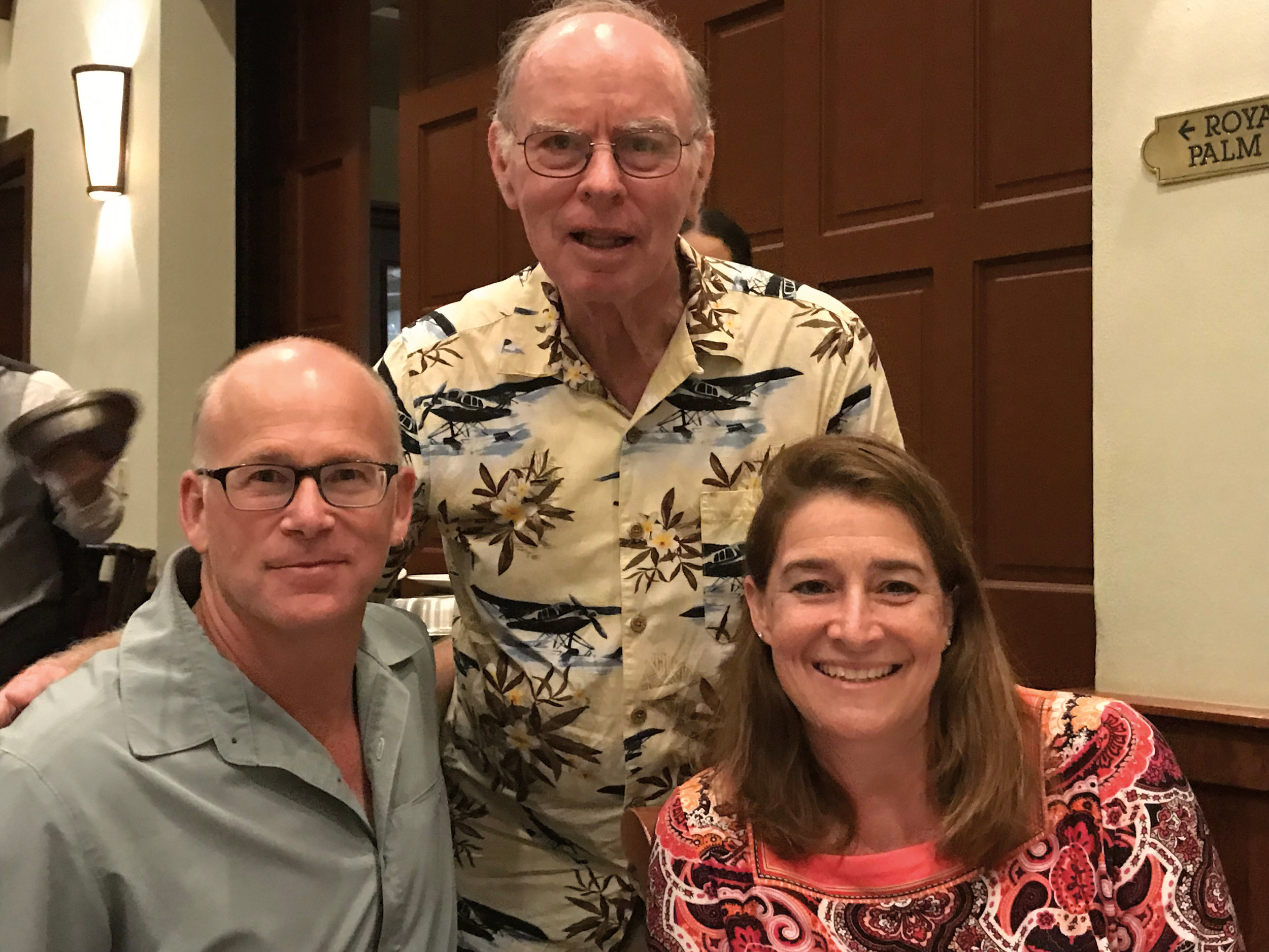Bill Matthews '61 (c.) and Sarah Richardson Reidy '89 heard Thomas Douglas '88 speak about the Arctic.