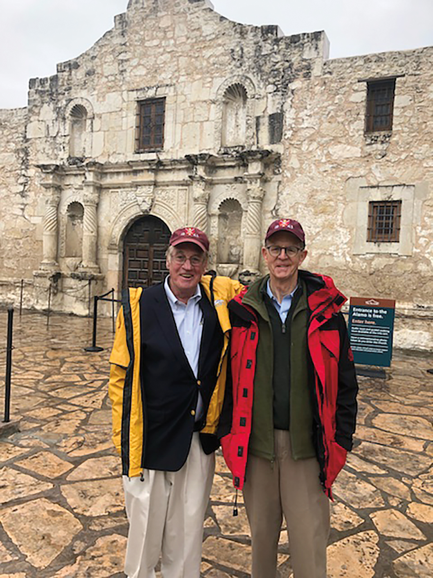 Formmates Dave Evans '63 (l.) and Ryland Howard remembered the Alamo in their 55th reunion caps.