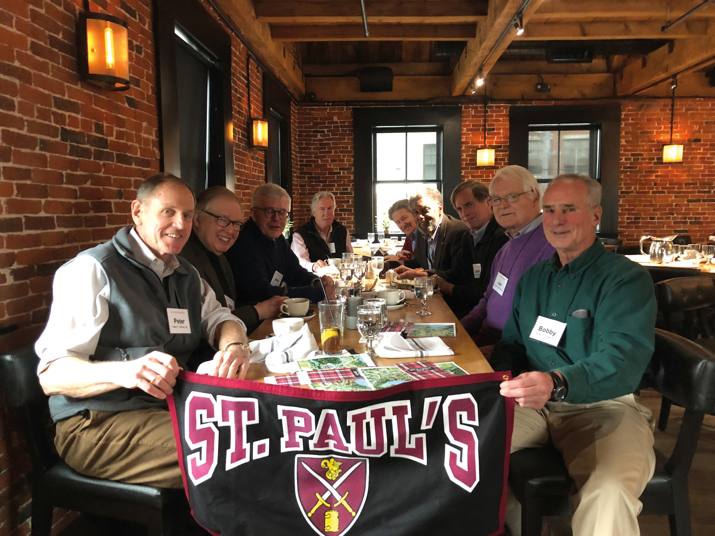 (L. to r.) Peter Twining '65, Bill Schwind '60, John Rice '65, Ian Gillespie '69, Dave Eklund '65, Bob Hall '65, Laurie Brengle '65, Joe Mechem '60, and Bobby Clark '61 in Newburyport, Mass.