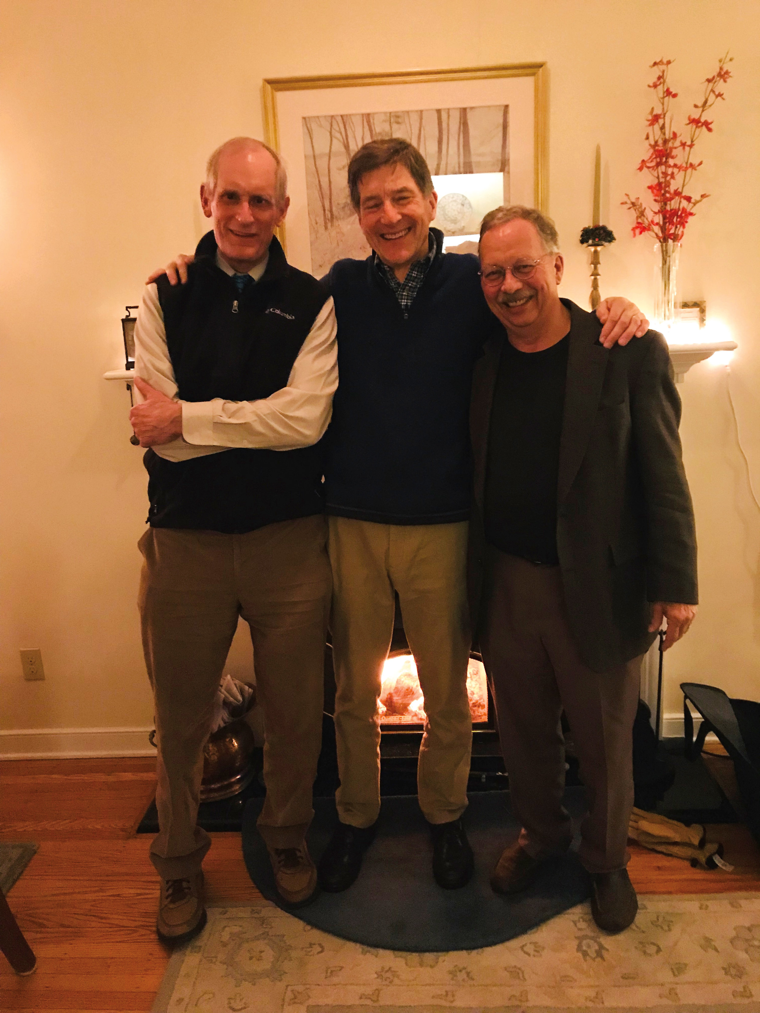 (L. to r.) Andrew Roberts '66, Jeff Clark '66, and Hugh Clark '66 gathered for dinner.