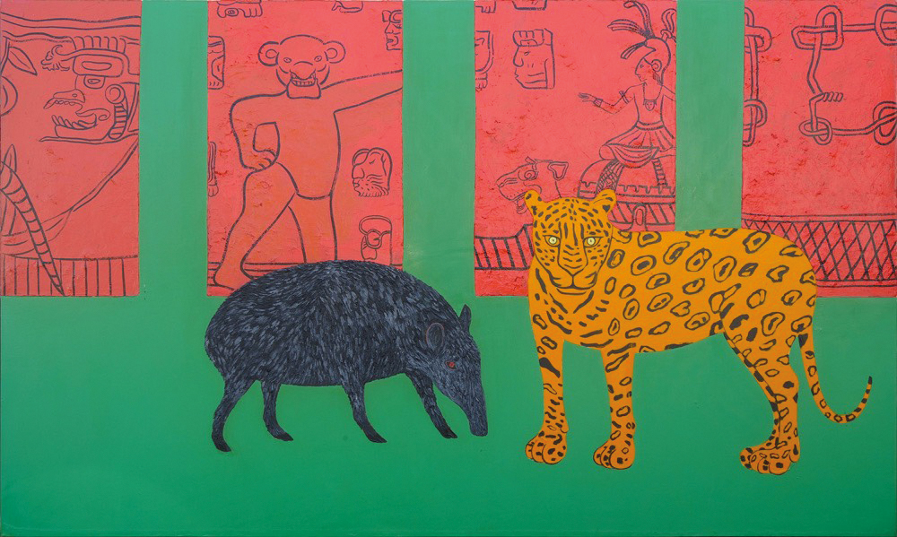 """""""The Tapir and the Jaguar"""" by Joan Brown, a recent acquisition by Chip Haggerty '72 and his wife, Amy."""