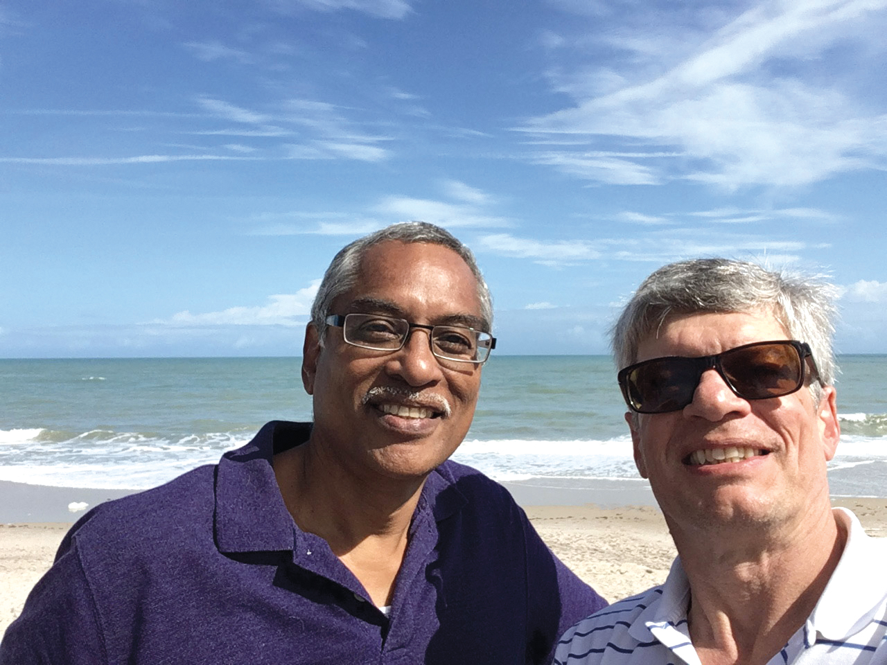 Rick Gomes '75 (r.) trying his best to snap a selfie with formmate Donn Taylor.