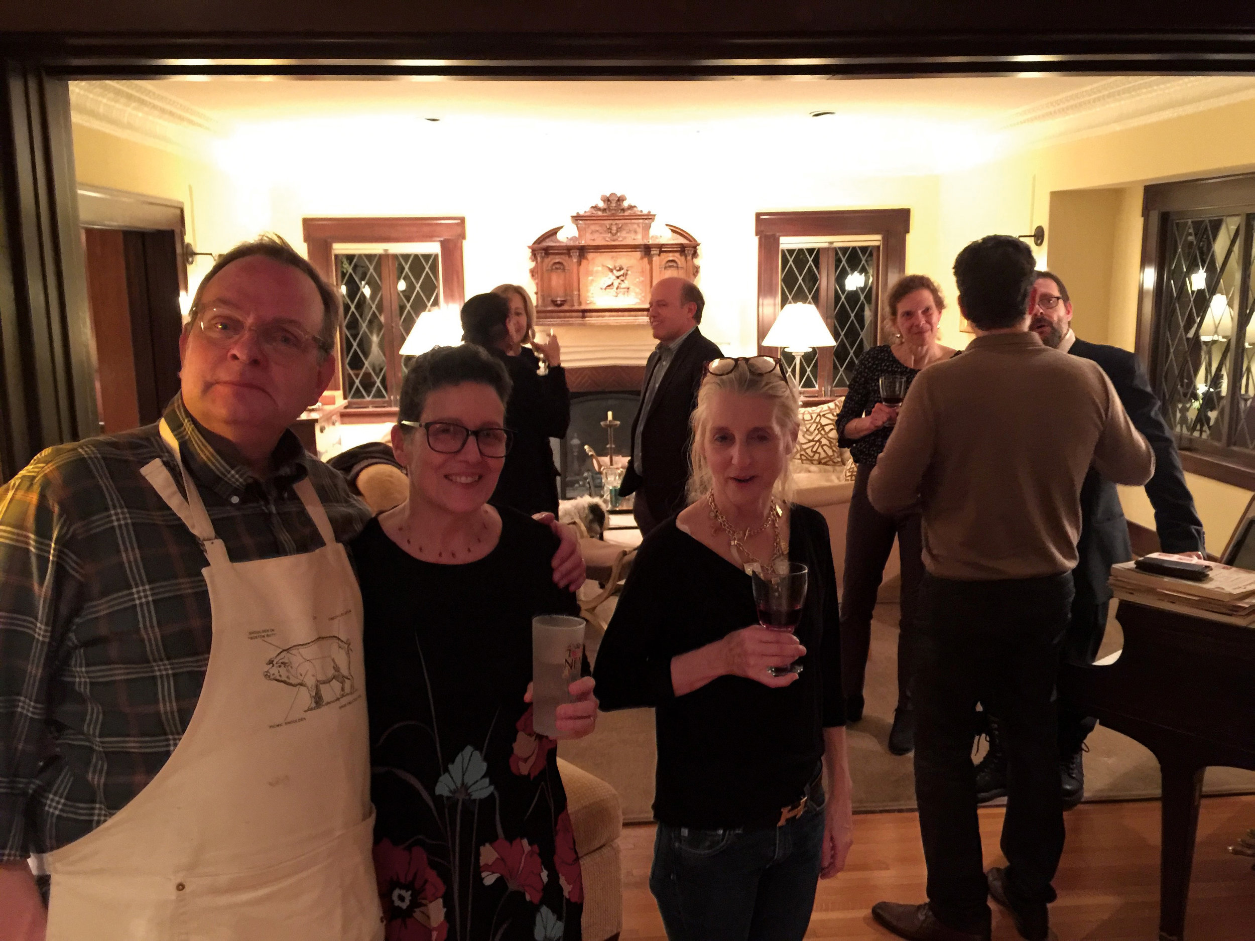 (L. to r.) Todd Purdum '78, Els Collins '78, and Electra McDowell Lang '78 defy Jon Sweet '78 to take their picture at Todd's March dinner party in L.A., while other form members carry on in the background, oblivious.