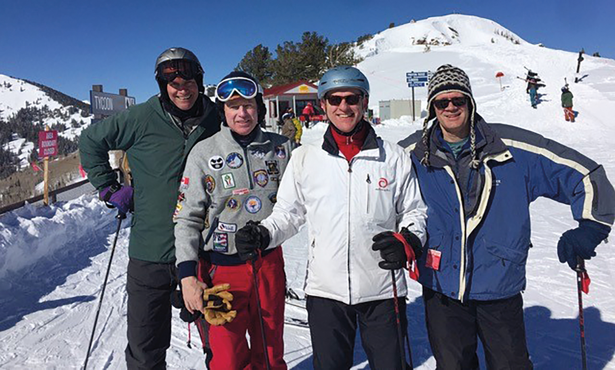 (L. to r.) Keith Pattison '83, Jack Corsello '83, Niki von der Schulenburg '84, and Morris Barrett '83 in Park City, Utah.