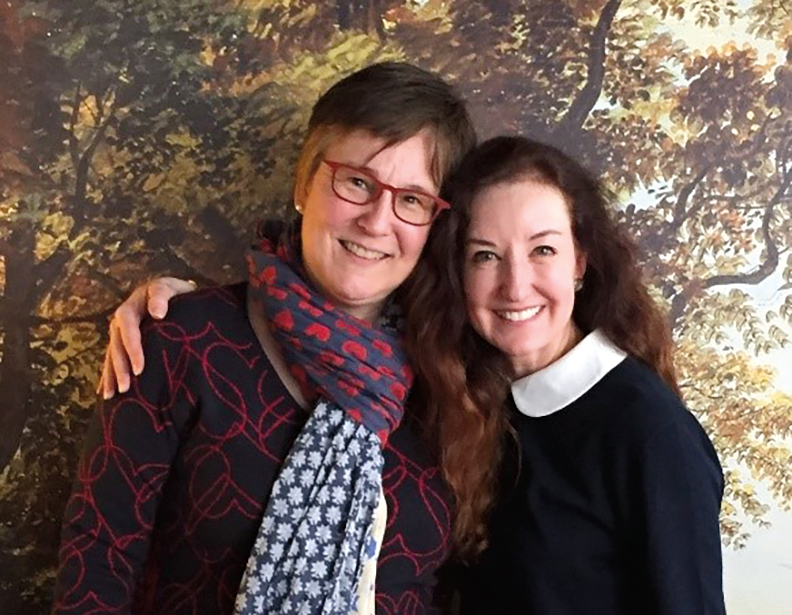 Eva Jenisch '83 (l.) with Beth Nolan '84 in Basel, Switzerland.