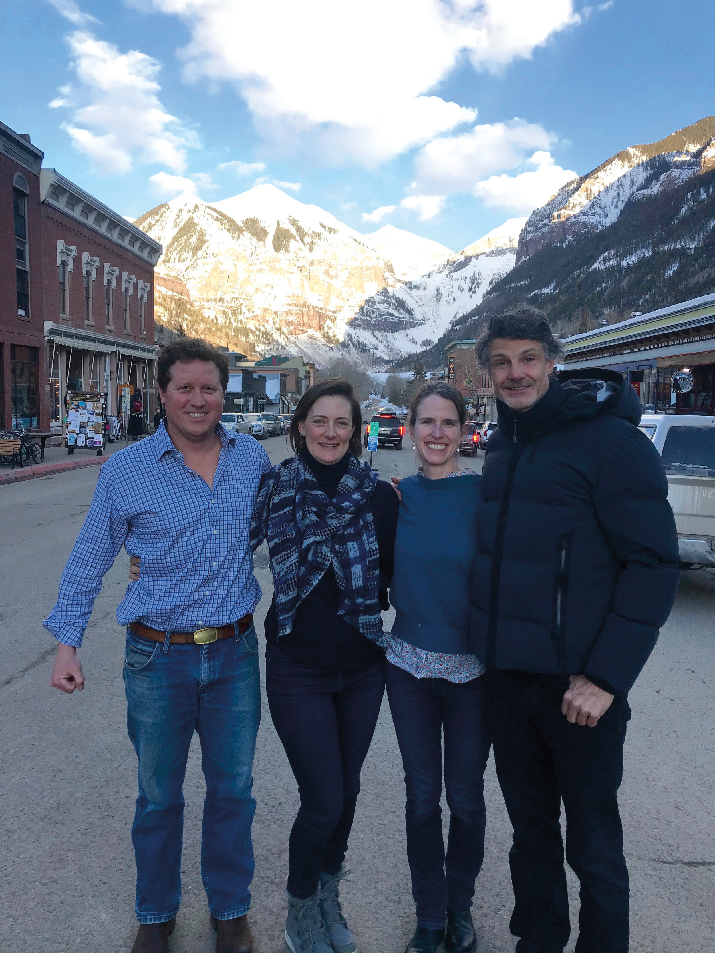 (L. to r.) Formmates from 1990 Chris Chaffin, Mary Tyler Johnson, Emily Lloyd Shaw, and Stratton Lloyd met up in Telluride, Colo.