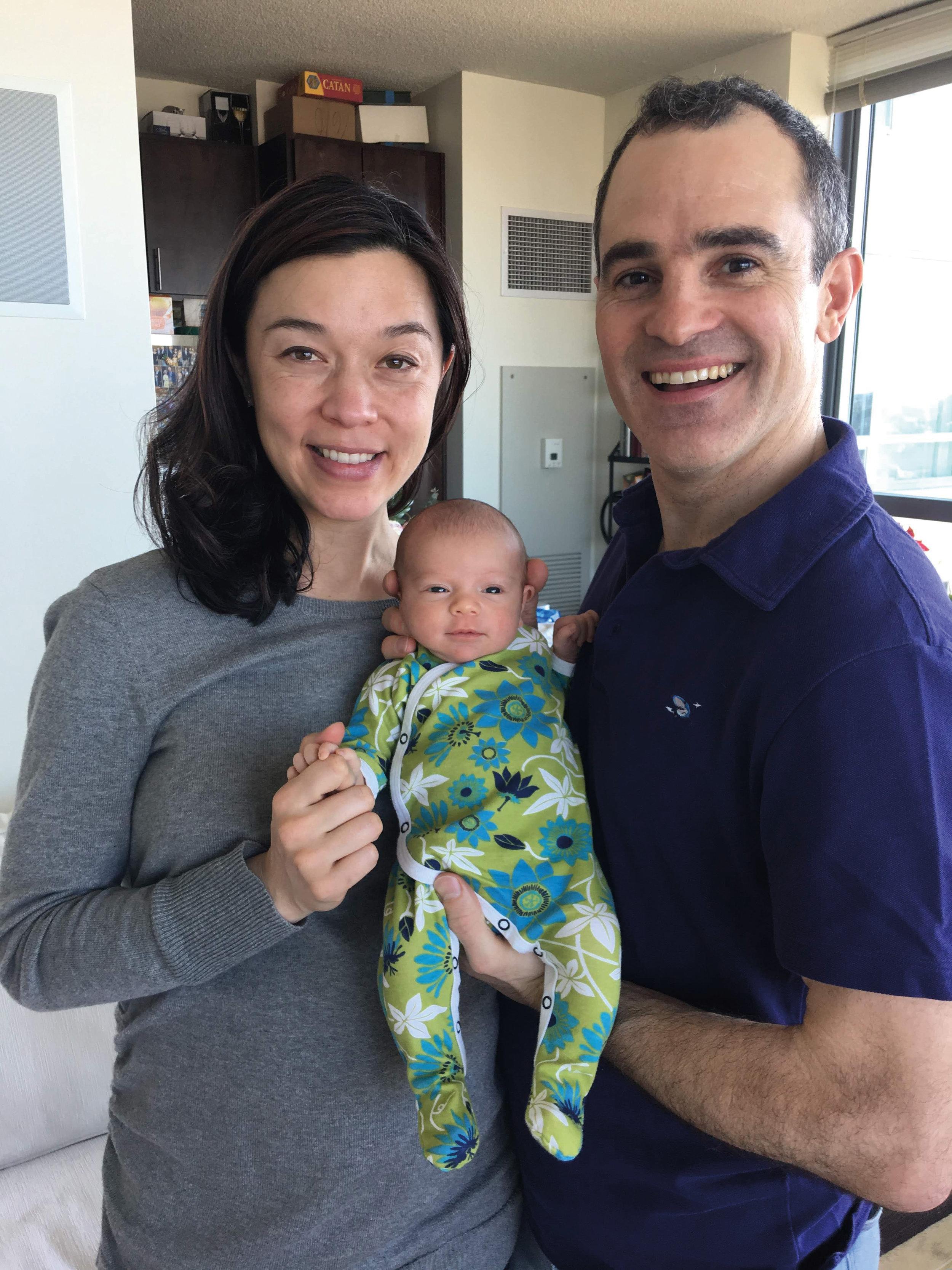 Laura Sinnott, Albert Pope '95, and Mileva Rose Pope-Sinnott, born on March 7, 2019.
