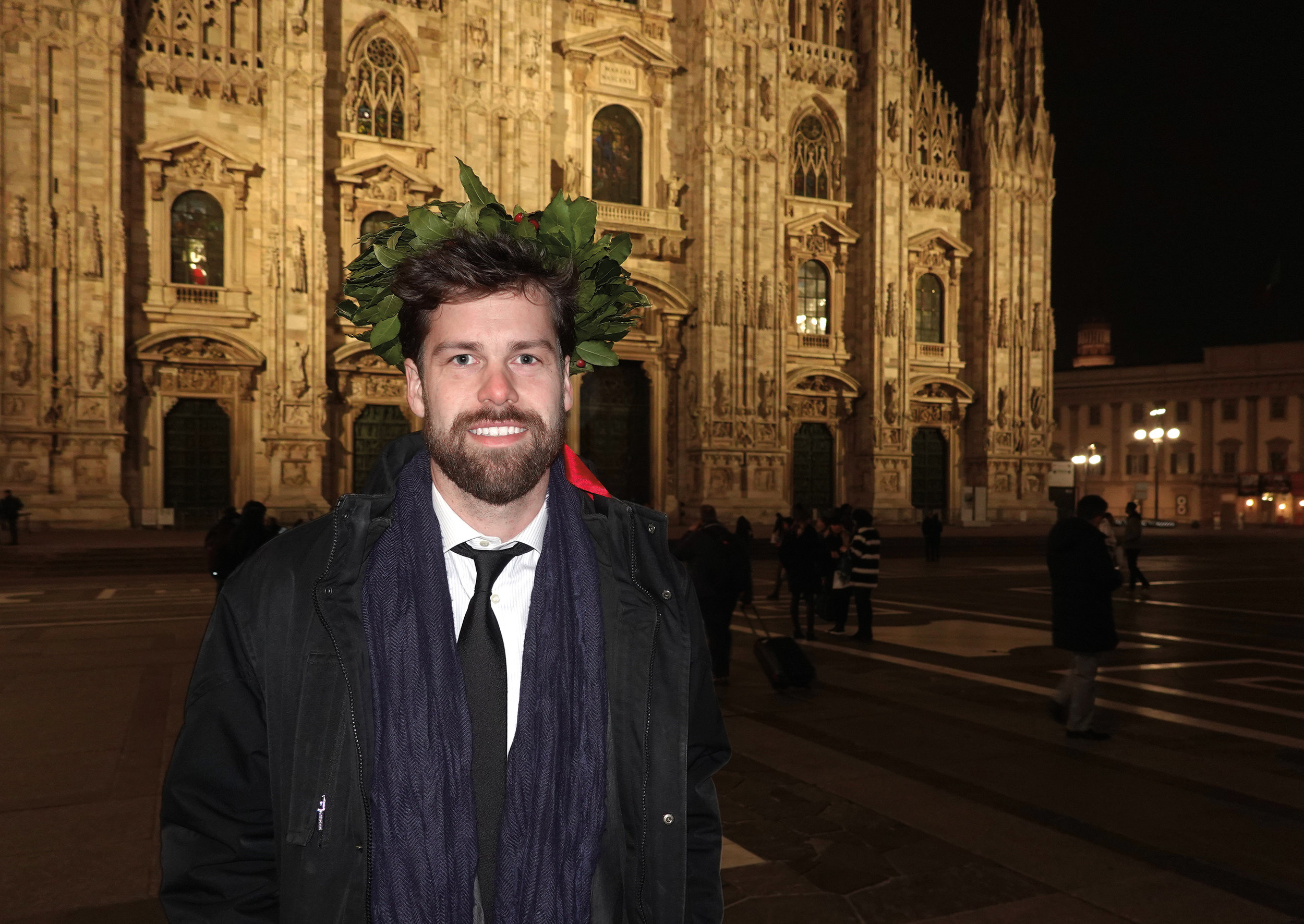 Timothy Liddell '05 wearing the traditional laurel crown worn by all laureates in Italy on their graduation day.
