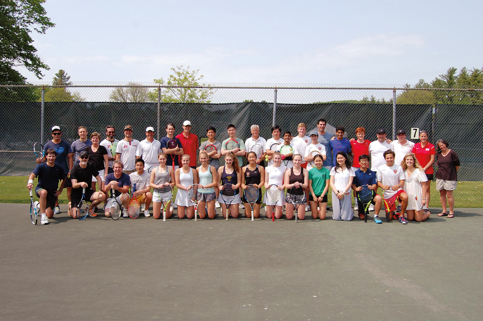 TENNIS PARTICIPANTS: Pete Bostwick '74, Clay Yonce '82, Matt Bell '89, Alice Campbell '89, Dave Leuthold '89, Dennis Lynch '89, Pete McBride '89, Dan Molnar '89, Tom Noe '89, Will Stubbs '89, Lisa Tilney '89, Andrew Fagenholz '94, Taylor Plimpton '94, Philip Warner '94, Jeffrey Bai '14, SJ Kim '14, Sam Yonce '15, Sarah Evenson '17, and Spencer Rowley '18.