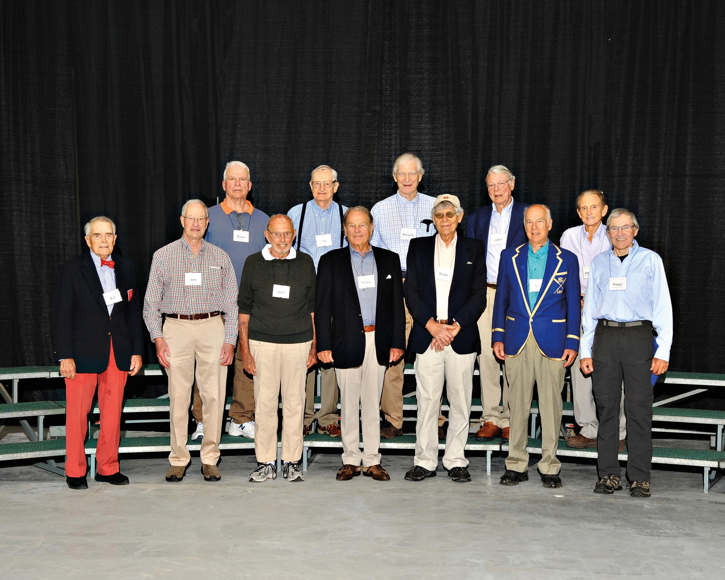 (L. to r.) row 1: Ed Harding, Jim Darby, Joel Reynolds, Pieter Greeff, Keith Lorenz, Bill McKim, Peter Pool; row 2: Dave Watts, Jay Cushman, Woody Waldron, John McGinley, and Harvey Sloane.