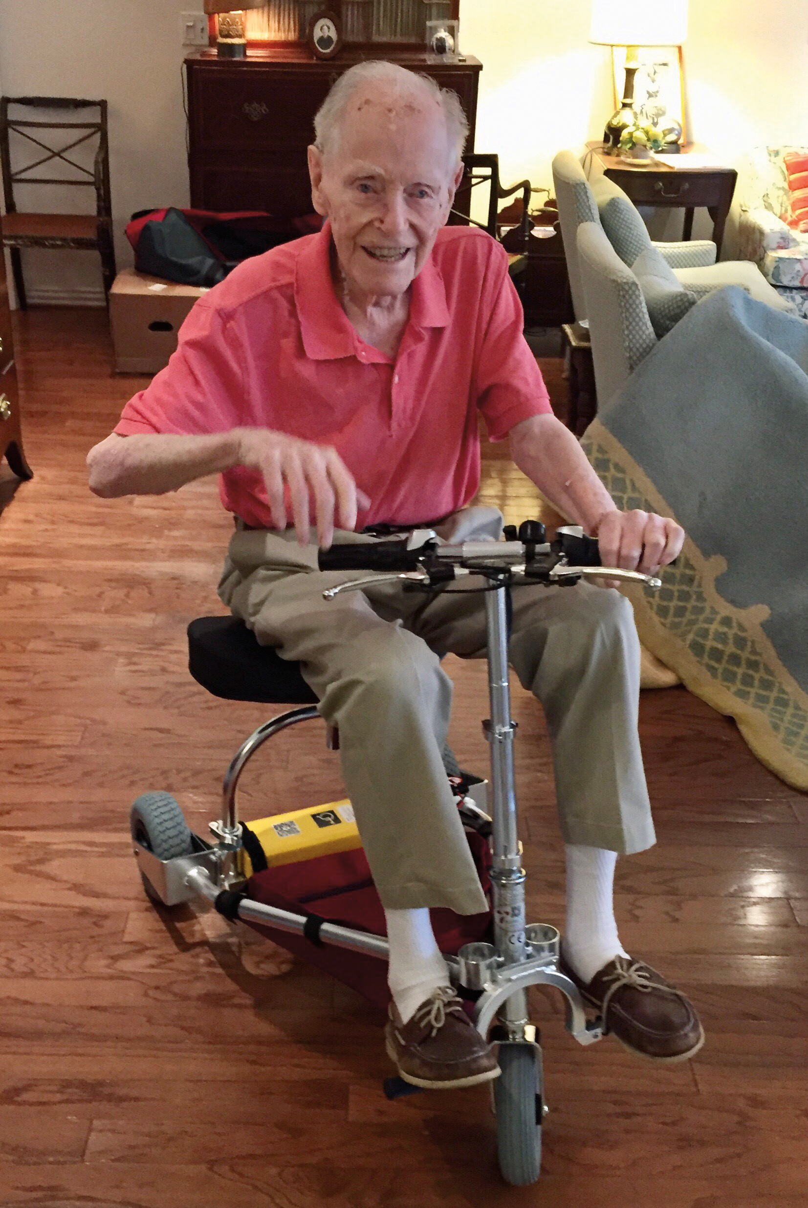 Charlie Hickox '39 enjoying his newly acquired scooter.