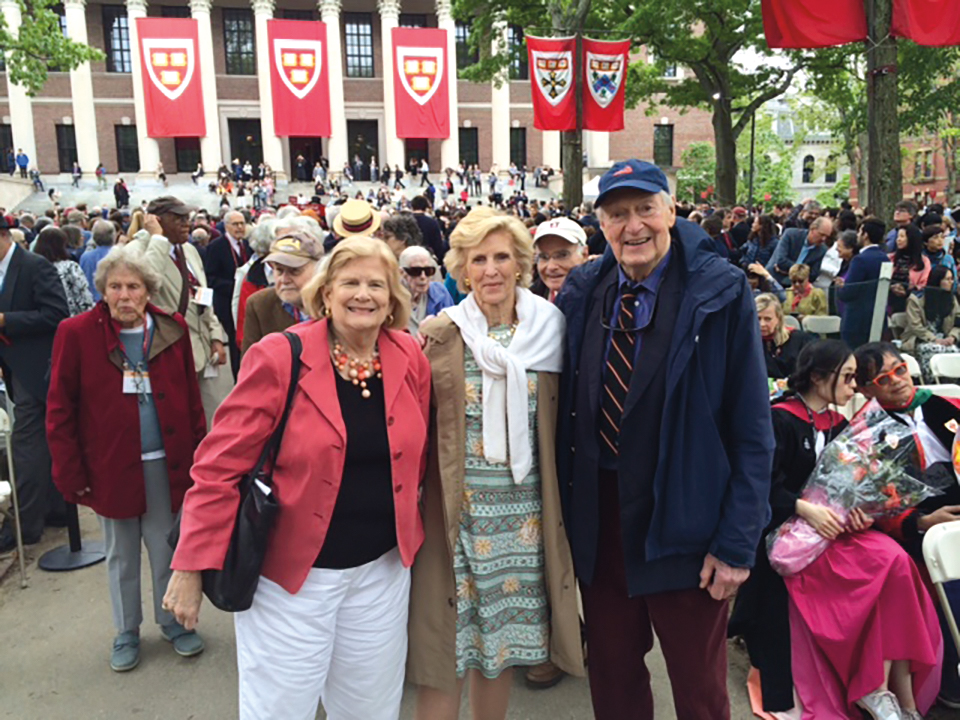 Marty Paine (wife of Dick Paine '50), Alloe Stokes (widow of John Stokes '50), and John Wagley '49 at their 65th Harvard reunion.