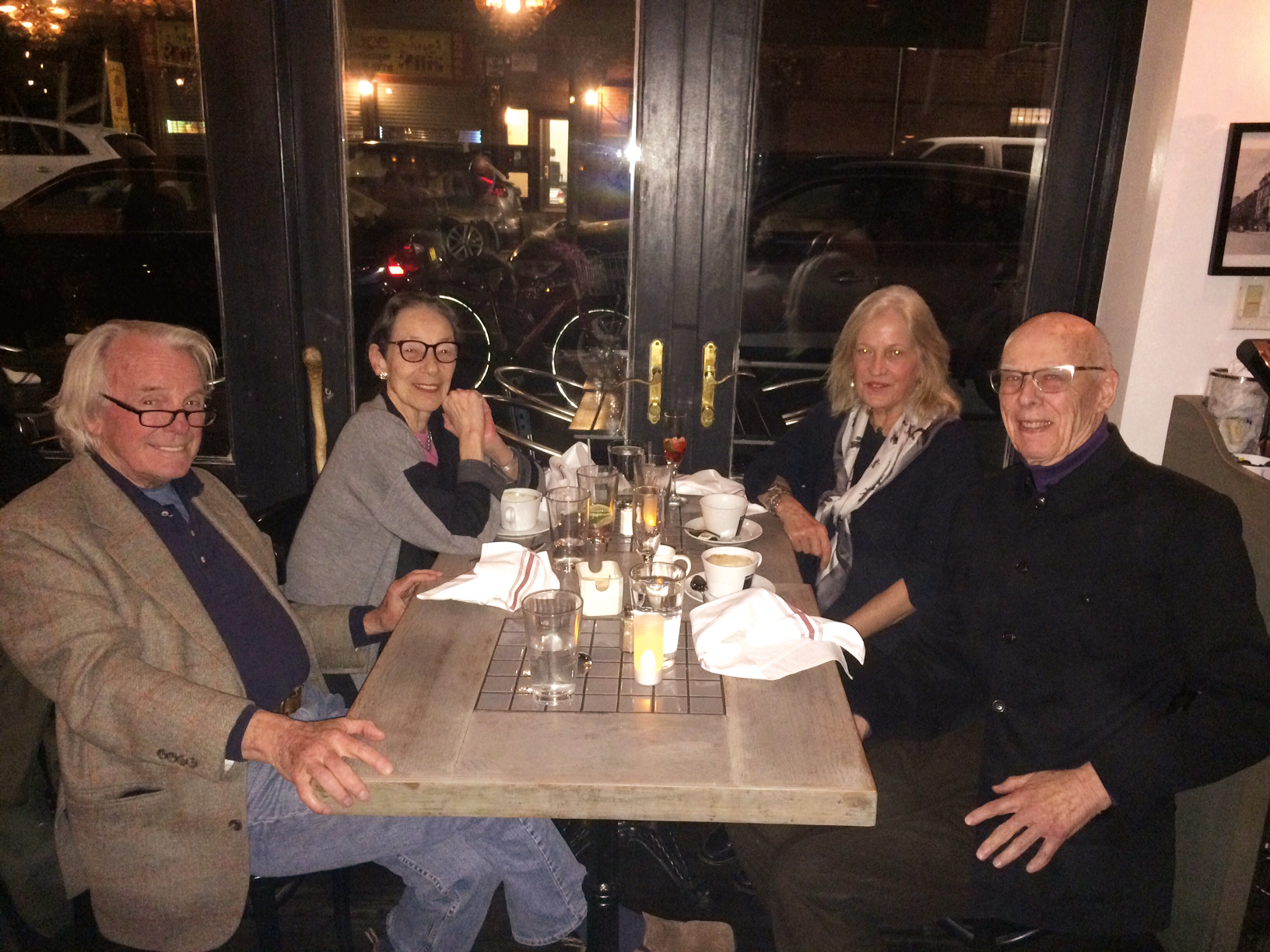 (L. to r.) Nelson Aldrich '53, Didette Hammond, Dee Aldrich, and Jim Hammond '53 in New York City.