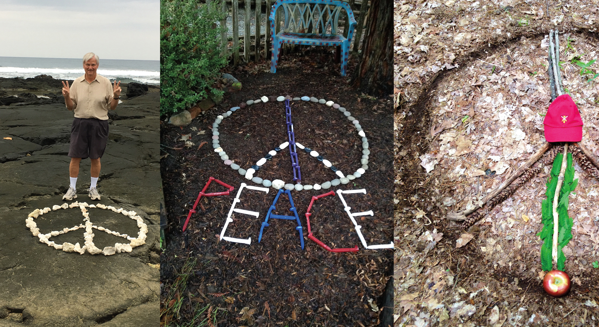 Stuart Douglas '61 with a sampling of peace signs he has created during his travels.
