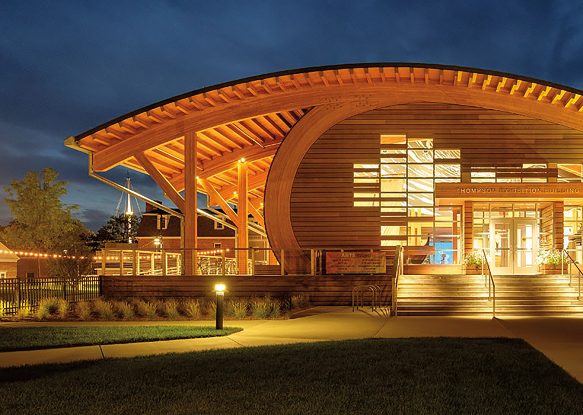 The acclaimed Thompson Exhibition Building at the Mysitc Seaport Museum, designed by Chad Floyd '62.