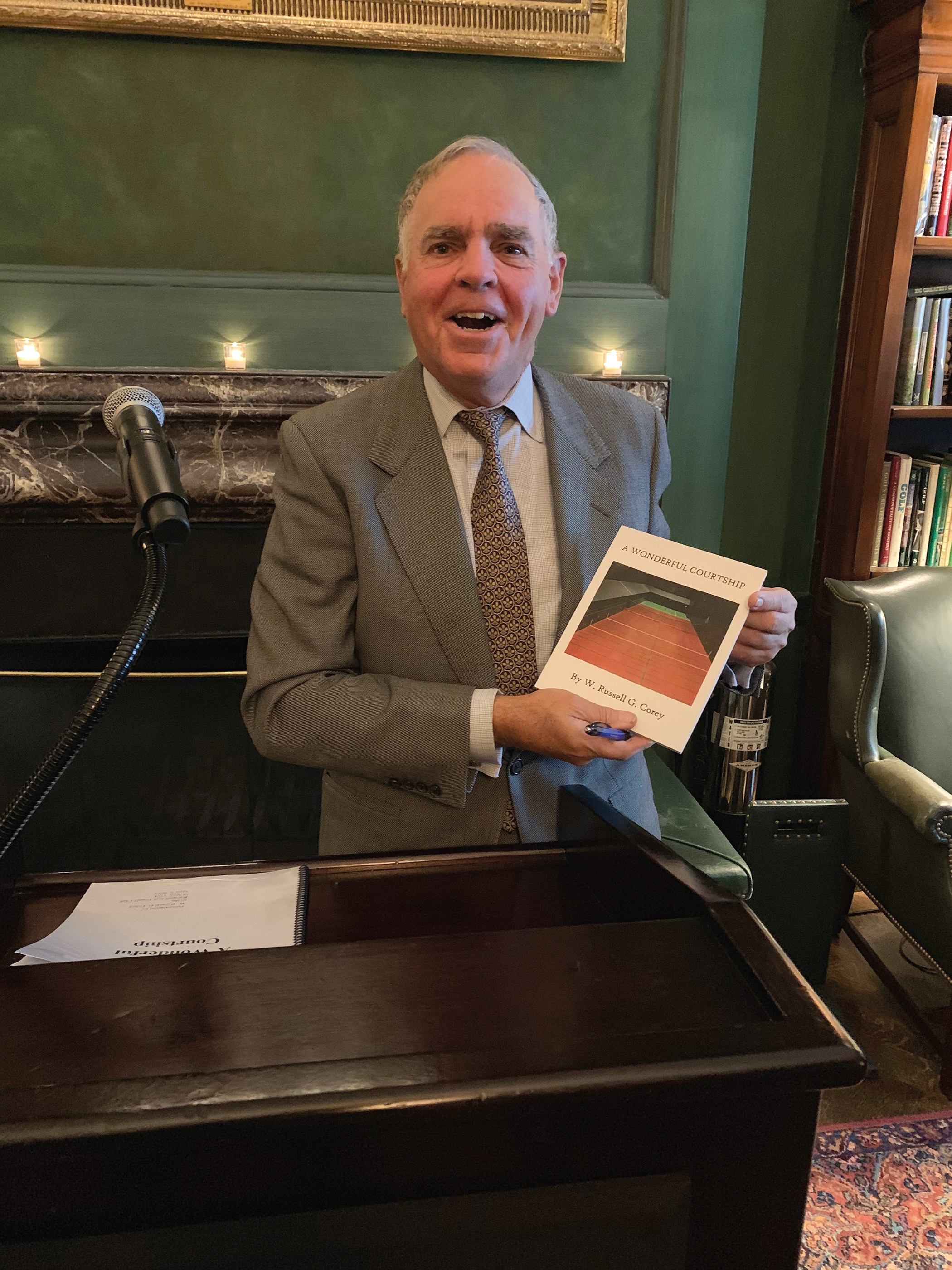 Russell Corey '65 with his new book, A Wonderful Courtship.