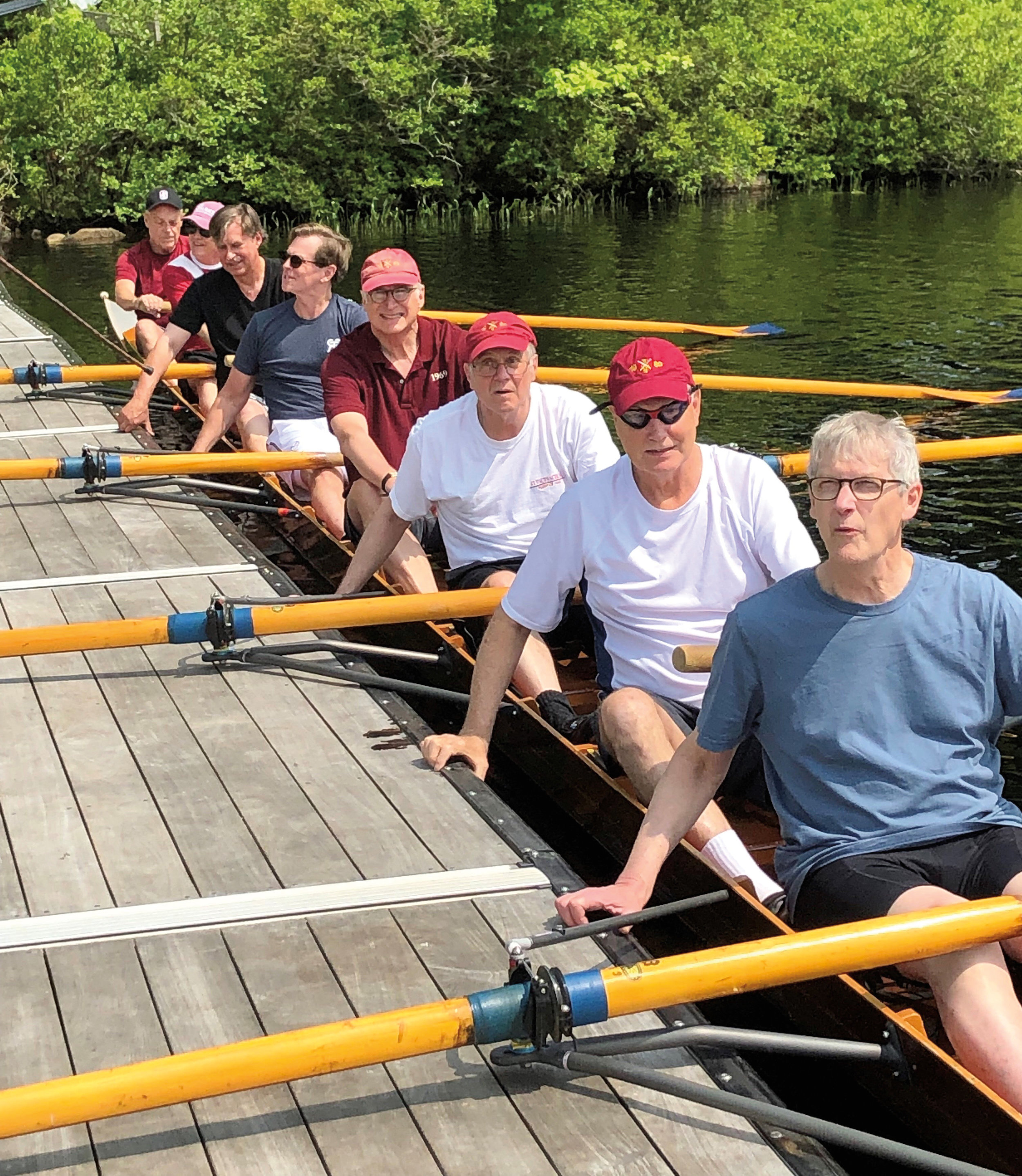 From the 2019 Anniversary Weekend Boat Races: Hugh Taylor '69 (stroke) – doctor in attendance, Charlie Hickox '69 (7), Rev. Charles Bradshaw '69 (6) – spiritual guide, Pete Flynn '69 (5) – legal representative, Charlie Scribner '69 (4) – literary agent, George Birchard '69 (3) – instigator, Terry Hunt '69 (2) – therapist, and Greg Vail '69 (bow).