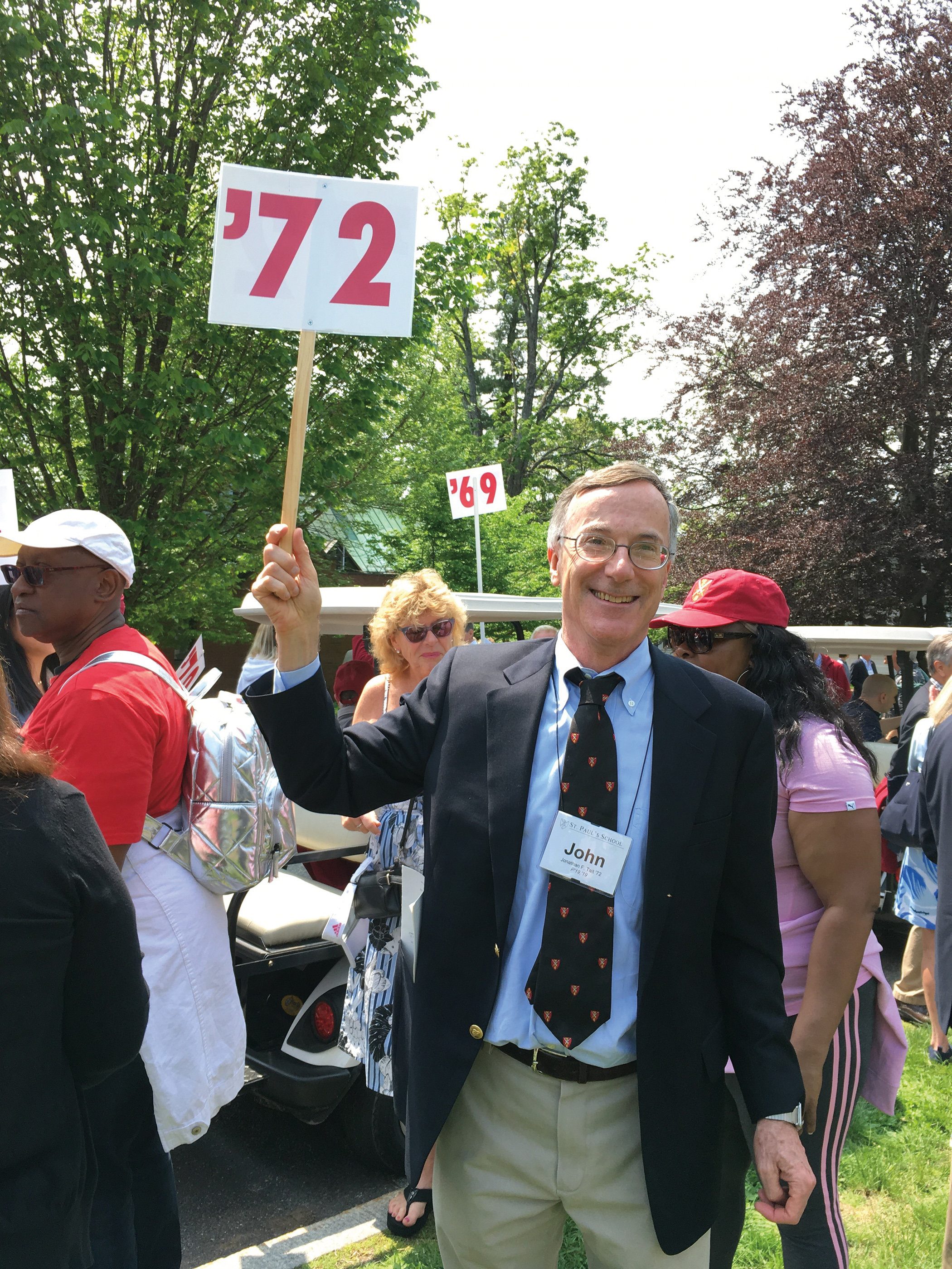 John Tait '72 representing the Form of 1972 at the 2019 Alumni Parade.