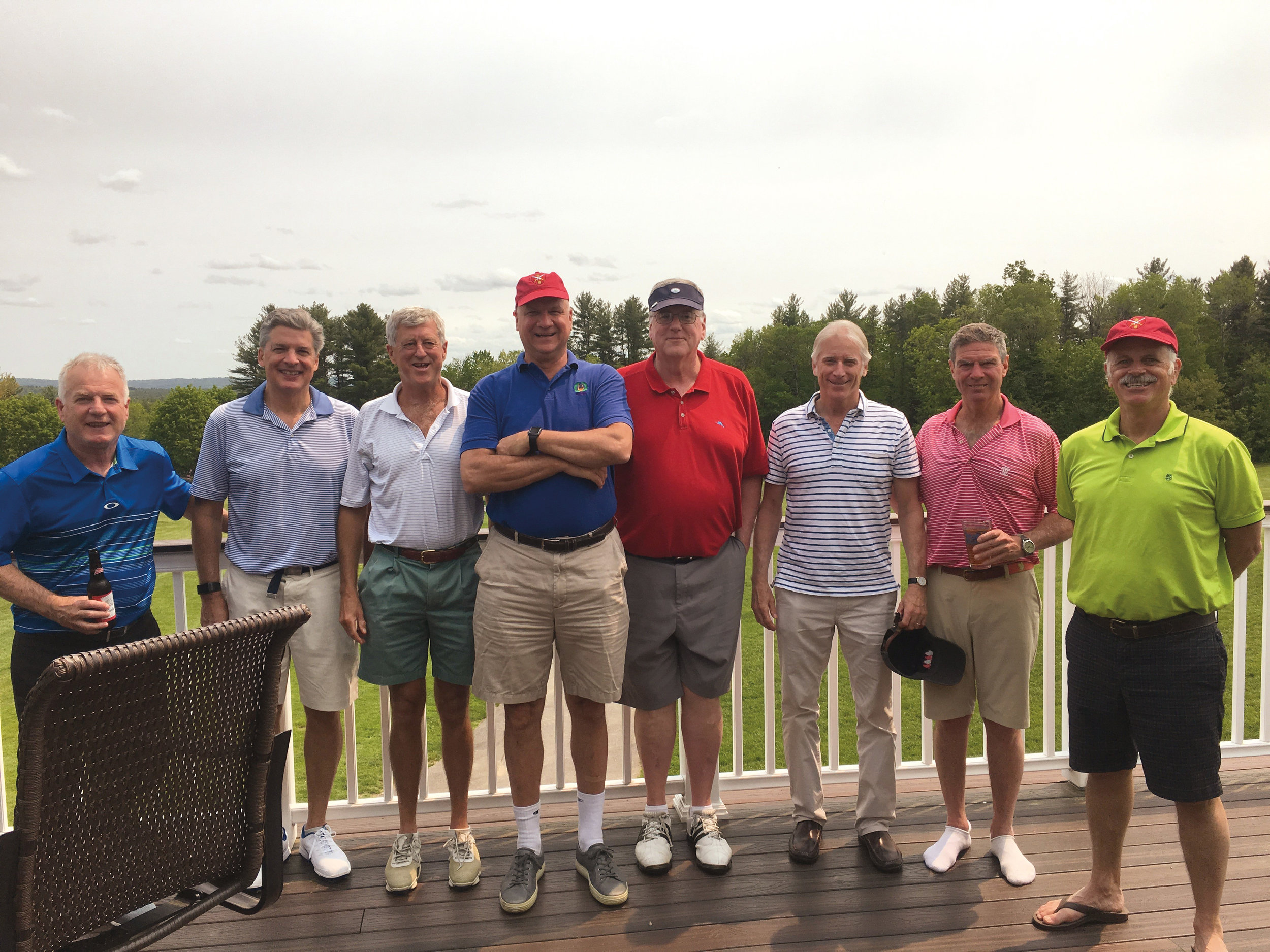 Members of the Form of 1974 (l. to r.): Tom Painchaud, KC King, Pete Bostwick, Chris Rulon-Miller, John Sullivan, Phil Laird, Jeff Randall, and David Clark on an Anniversary Weekend golf outing.