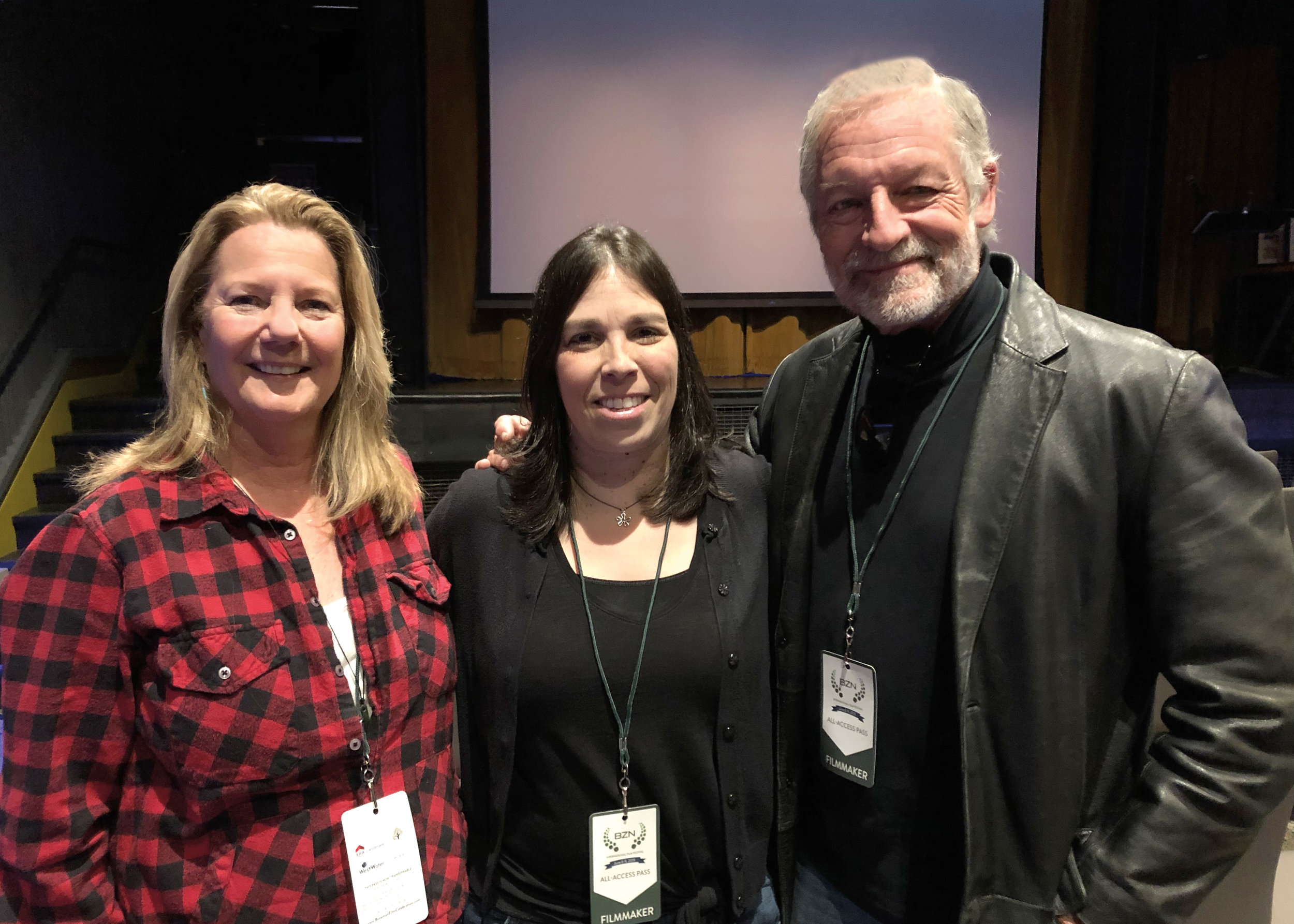 (L. to r.) Filmmakers Mimi Armstrong deGruy '75, Jana Brown (editor of Alumni Horae), and Perry King '66 met at BZN Film Celebration in Bozeman, Mont.