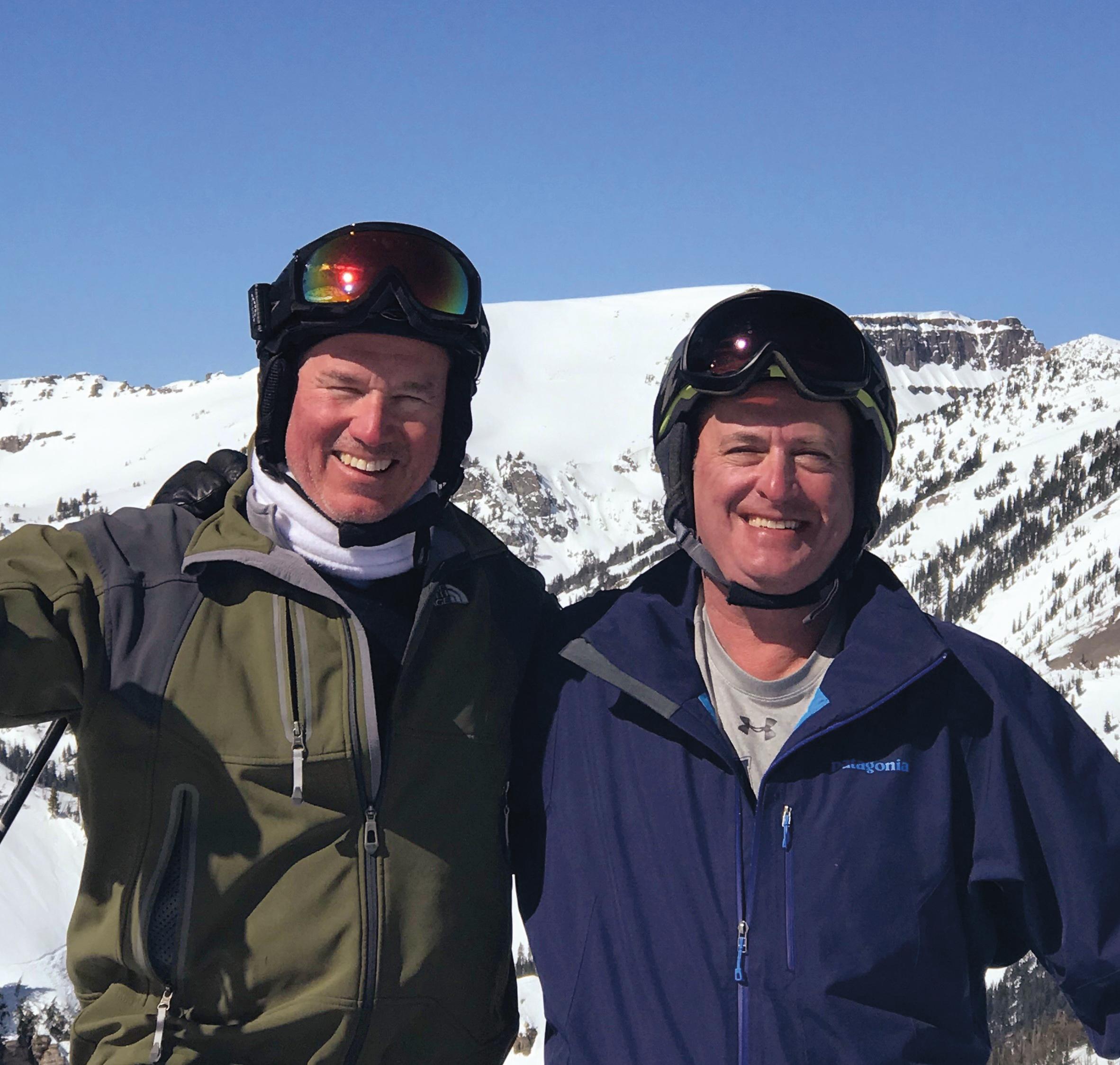 David Scully '79 (l.) and Tim Steinert '78 enjoying Jackson Hole, Wyo.