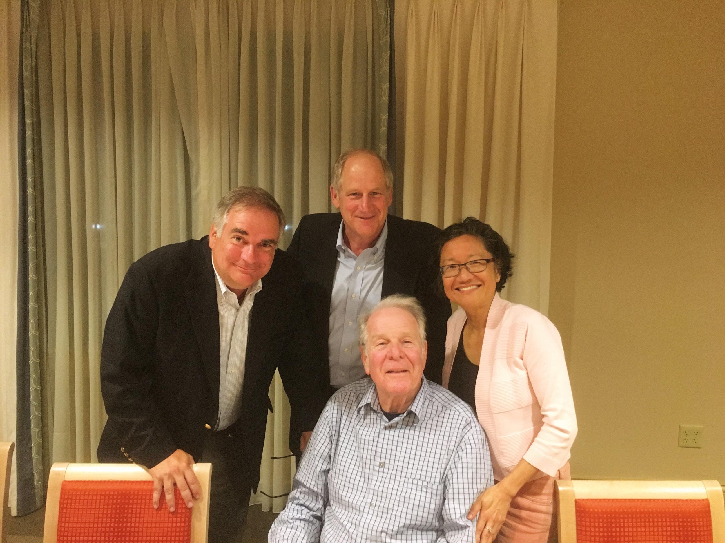 (L. to r.) Chris Schiavone '78, Jon Sweet '78, and K.T. Wen '75 with former faculty member Richard Lederer.