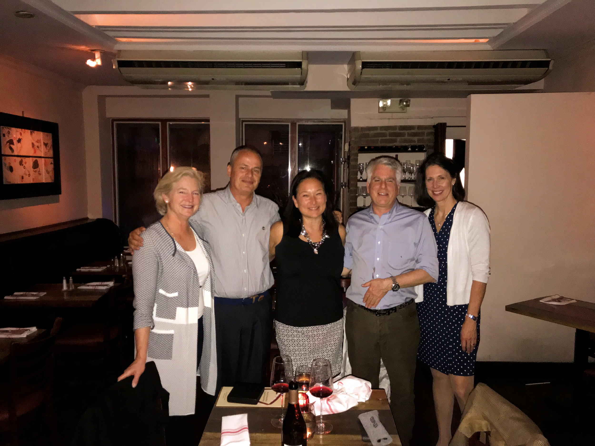 1979 Formmates (l. to r.) Sarah Bankson Newton, Etienne Poirot, Liz Overton Robbins, and George Schwab, with Mary Jo Hansen of the SPS Advancement Office, at the Annual Alumni Association Meeting in New York.