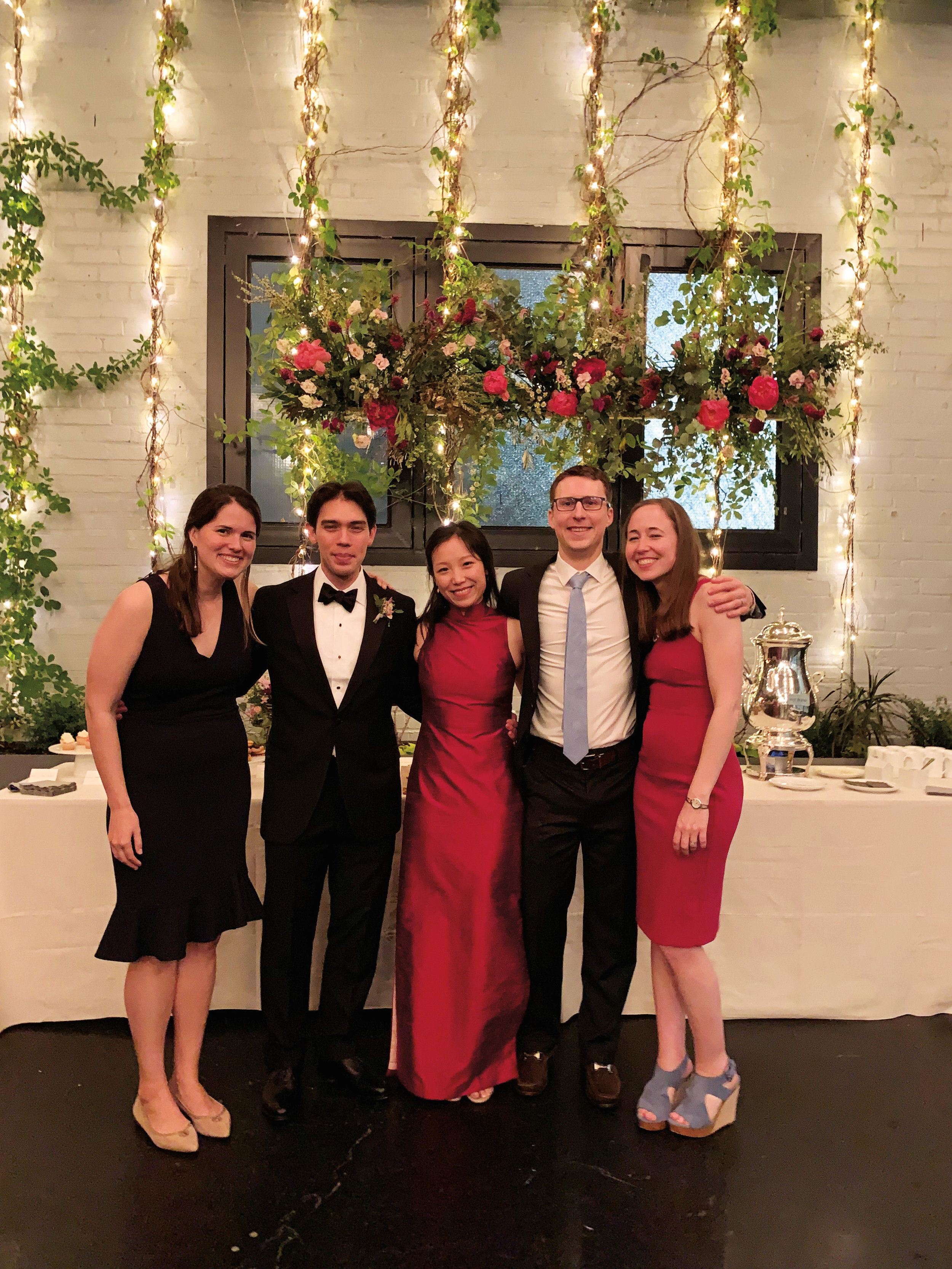 (L. to r.) Haley Duus '08, the bride and groom (Scott and Annie), Alex McLane '06 and Ellie Ferguson McLane '06 at a mutual friend's wedding.