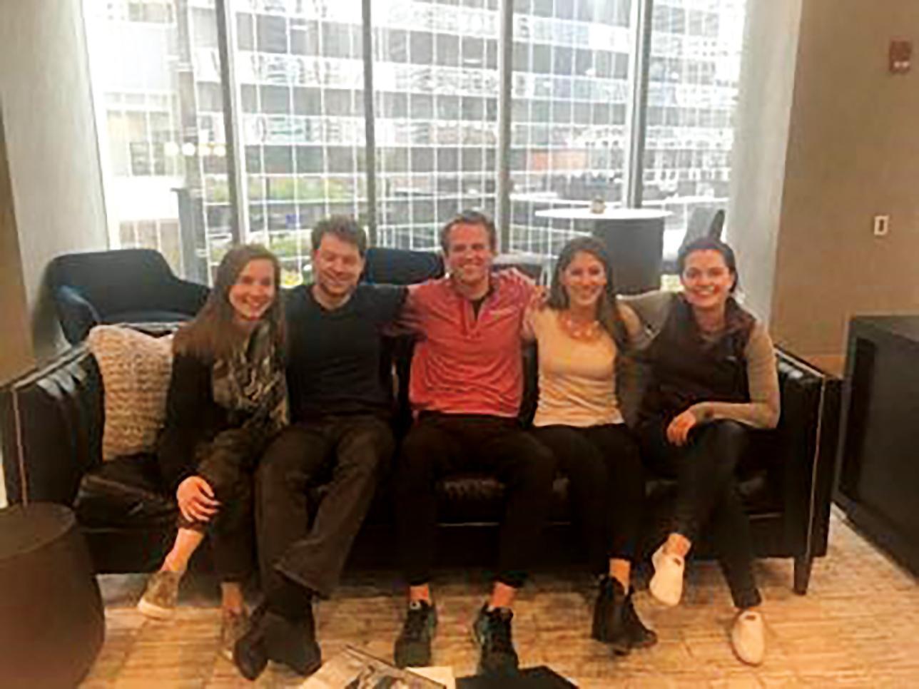 Five current SPS alumni at Chicago Booth School of Business (l. to r.): Gwen Schoch '10, Andrew Lopez-Balboa '10, Ben Ruffel '09, Caroline Arenz '08, and Sarah Clark-Hamel '07.