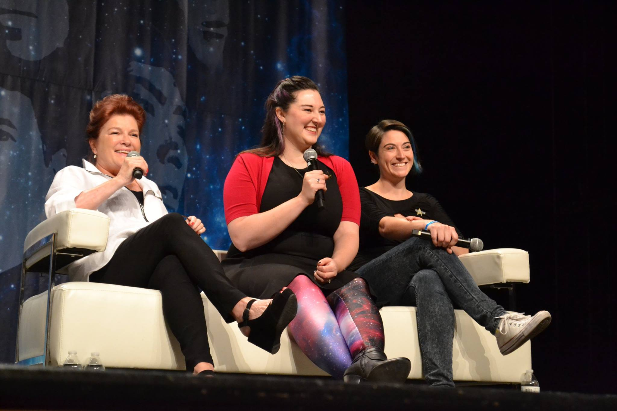 Onstage at Star Trek: Las Vegas in August 2016 with Kate Mulgrew (Left; Star Trek: Voyager and Orange Is the New Black) and Dr. Kayla Iacovino (right; TrekMovie.com)