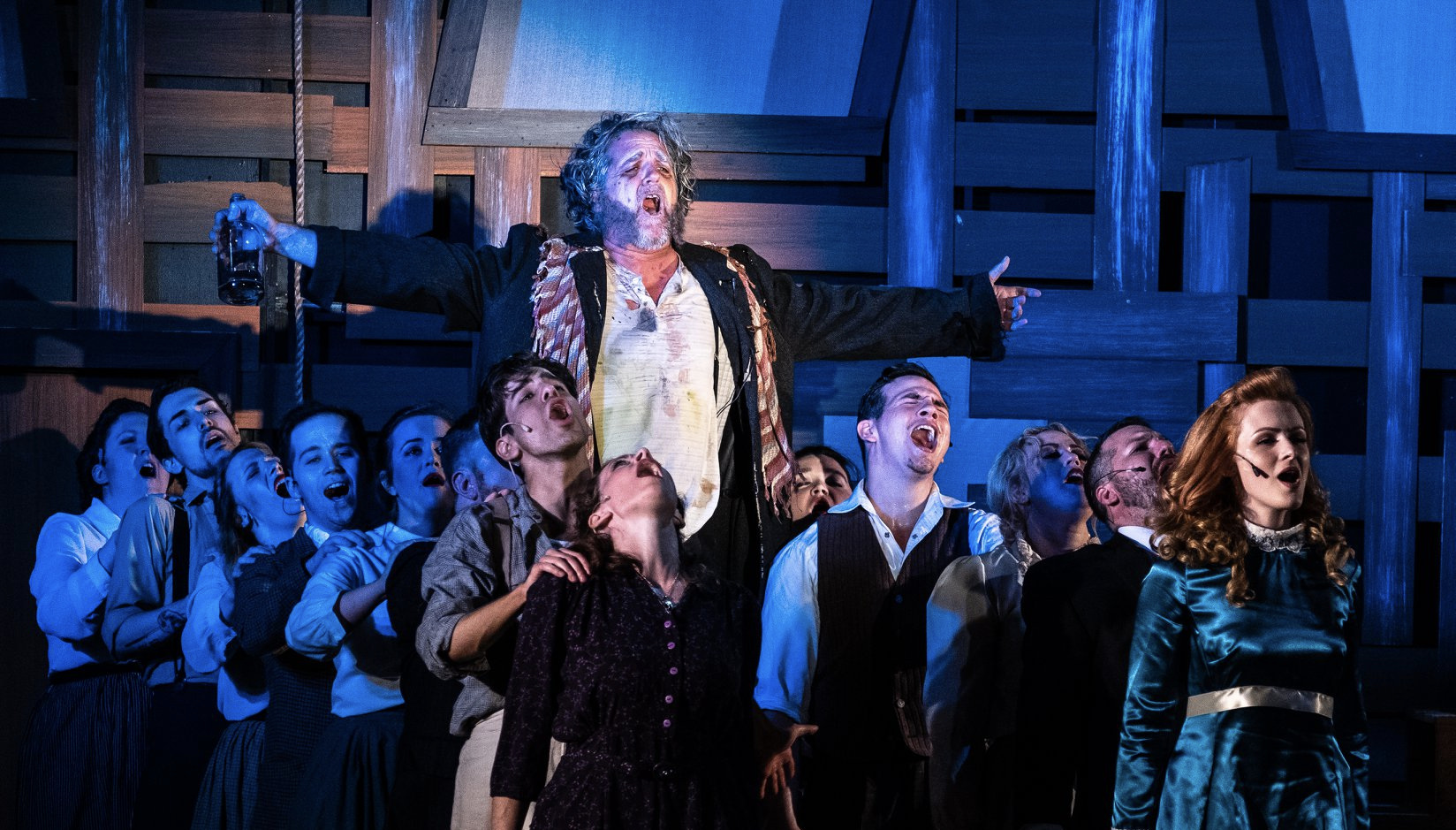 Paul Kaufman as Rev. Samuel Harper  w/ ensemble in Trustus Theatre's Constance musical (B. Martin, 2018)