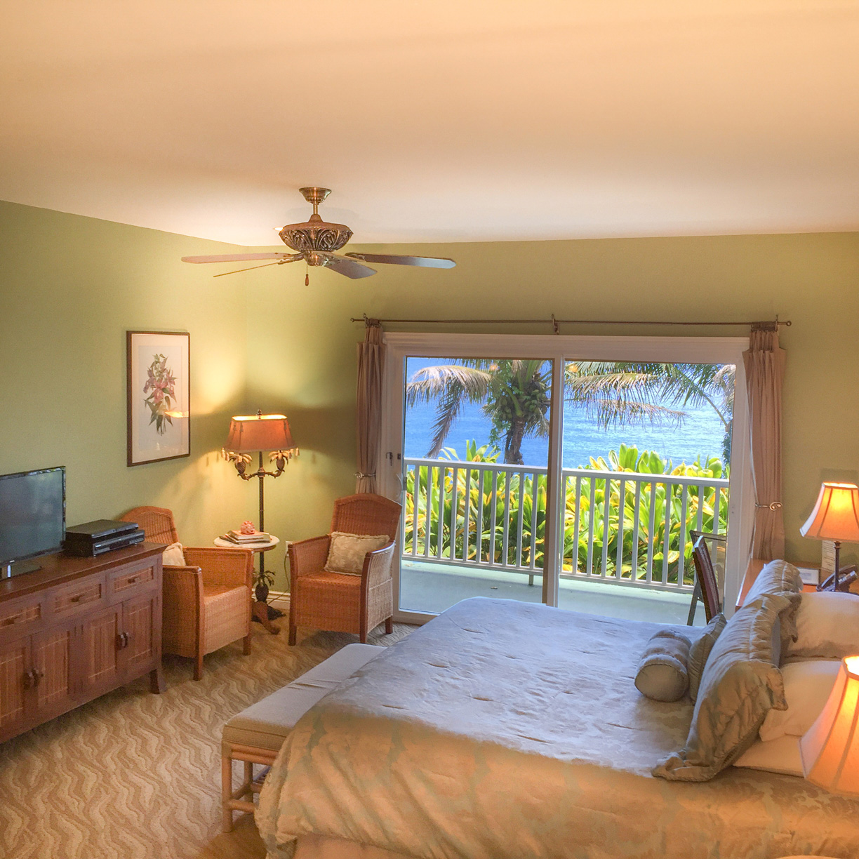 Beautiful ocean view right from your bed at The Palms Cliff House Inn