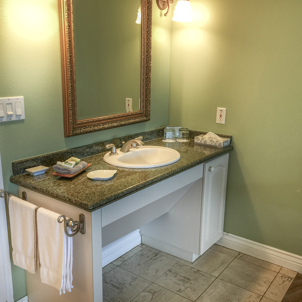 Beautiful in-room Granite sink here at The Palms Cliff House Inn