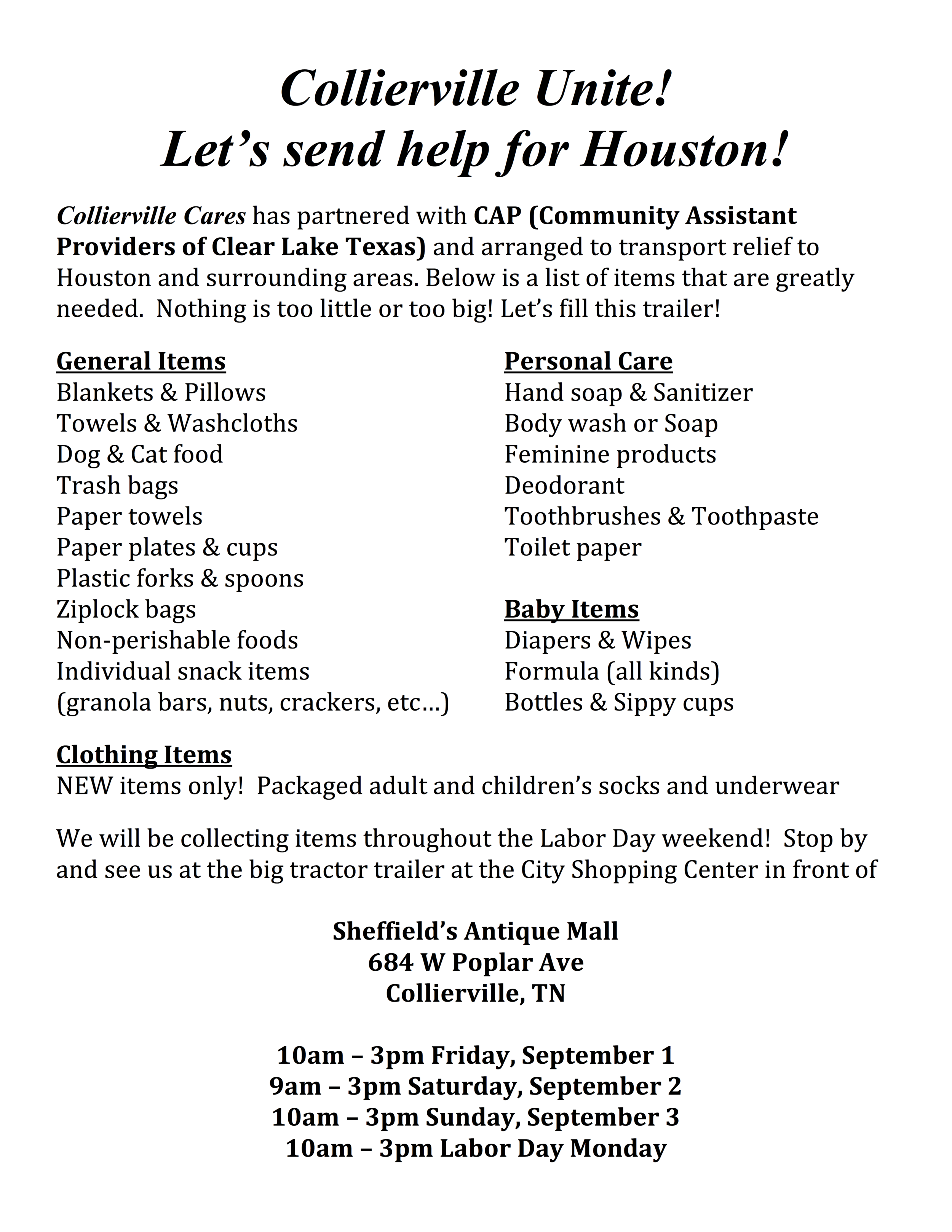 Collierville Cares Hurricane Relief