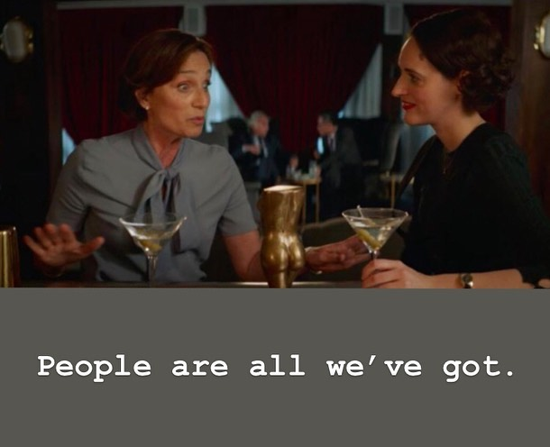 I loooooved this scene in @bbcfleabag and have brought it up with so many people this week when talking about the need for networking and walking into a big room full of people. People are all we've got! And hopefully we've got a glass of wine too cause, #jitters. #fleabag