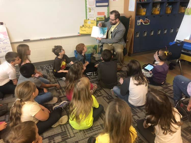 "Reading to students at Richard Avenue Elementary School - this was ""Green Eggs and Ham!"""