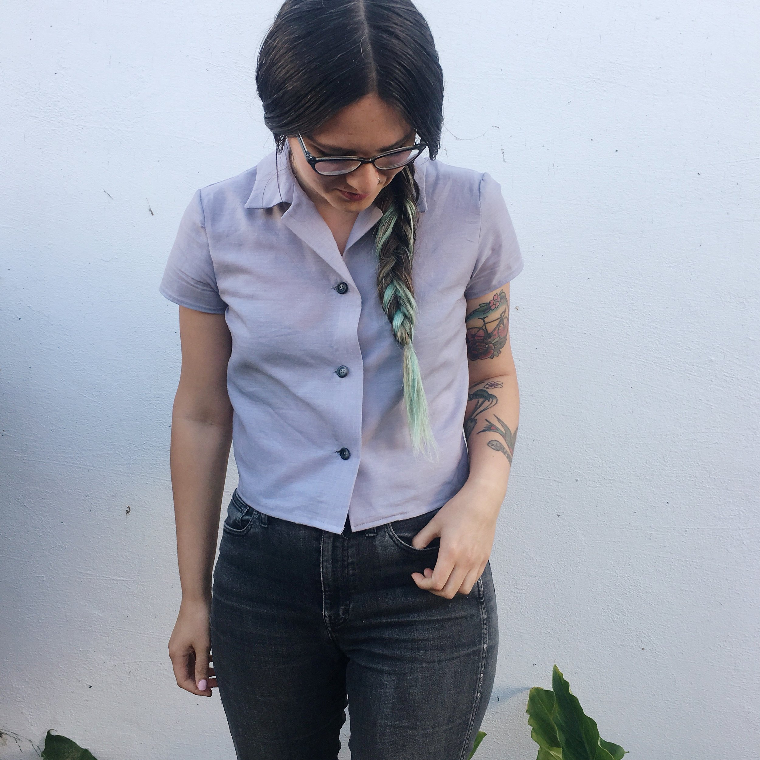 Full outfit details: Glasses from  Zenni Optical ,  BurdaStyle blouse  made from unknown fabric with vintage buttons, v old  Madewell  jeans (but those are similar), vintage belt I stole from my husband.