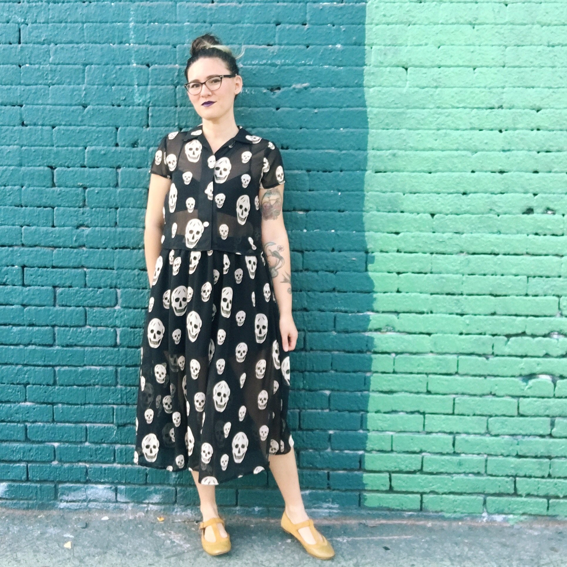 Outfit details:  top  and  skirt  are both BurdaStyle patterns sewn in deadstock chiffon from SAS fabrics in Hawthorne. Layered over this  Ohhhlulu bralette  made from stretch velvet from Joann fabrics  (similar) . Glasses are from  Zenni Optical  and shoes are old af