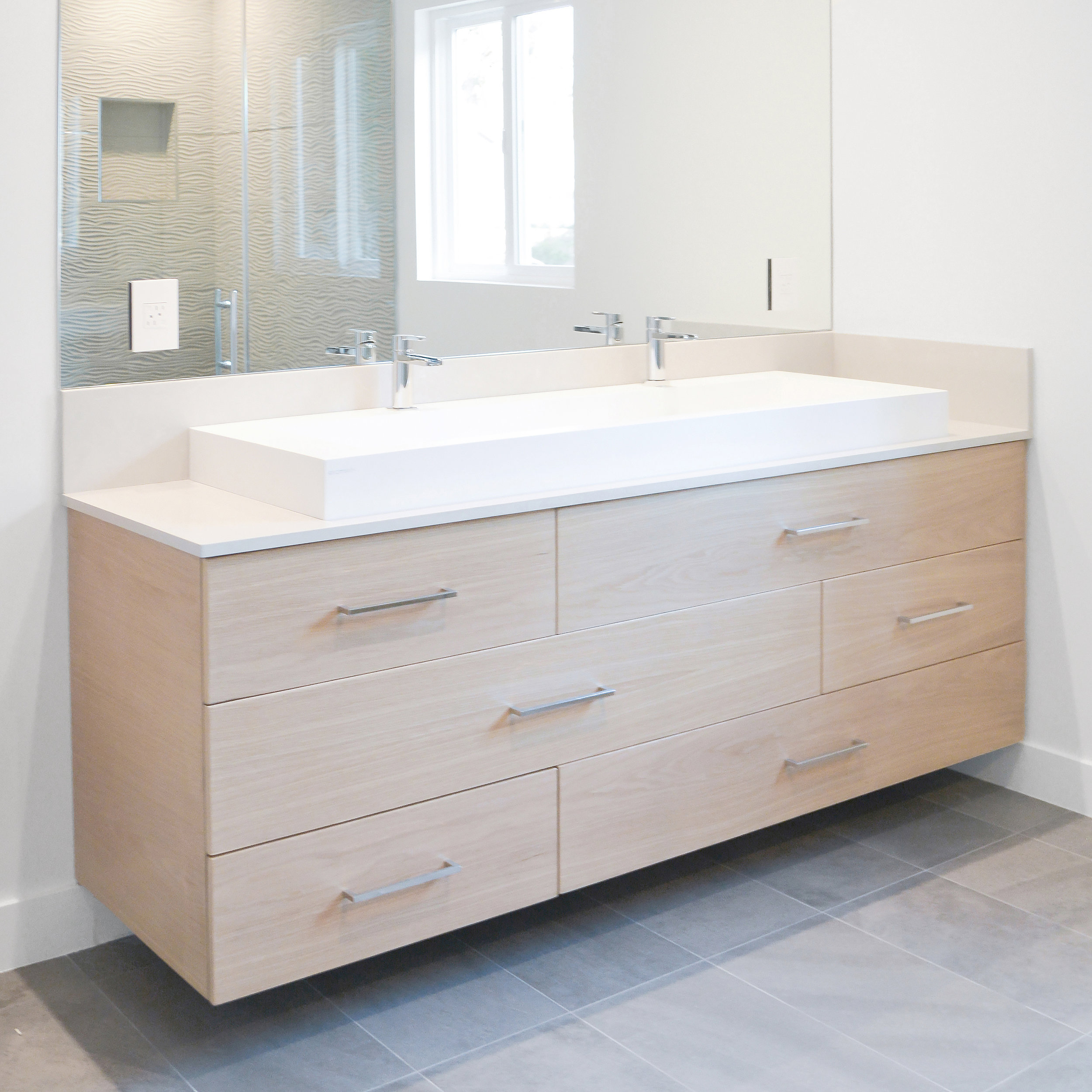 White Oak Floating Vanity