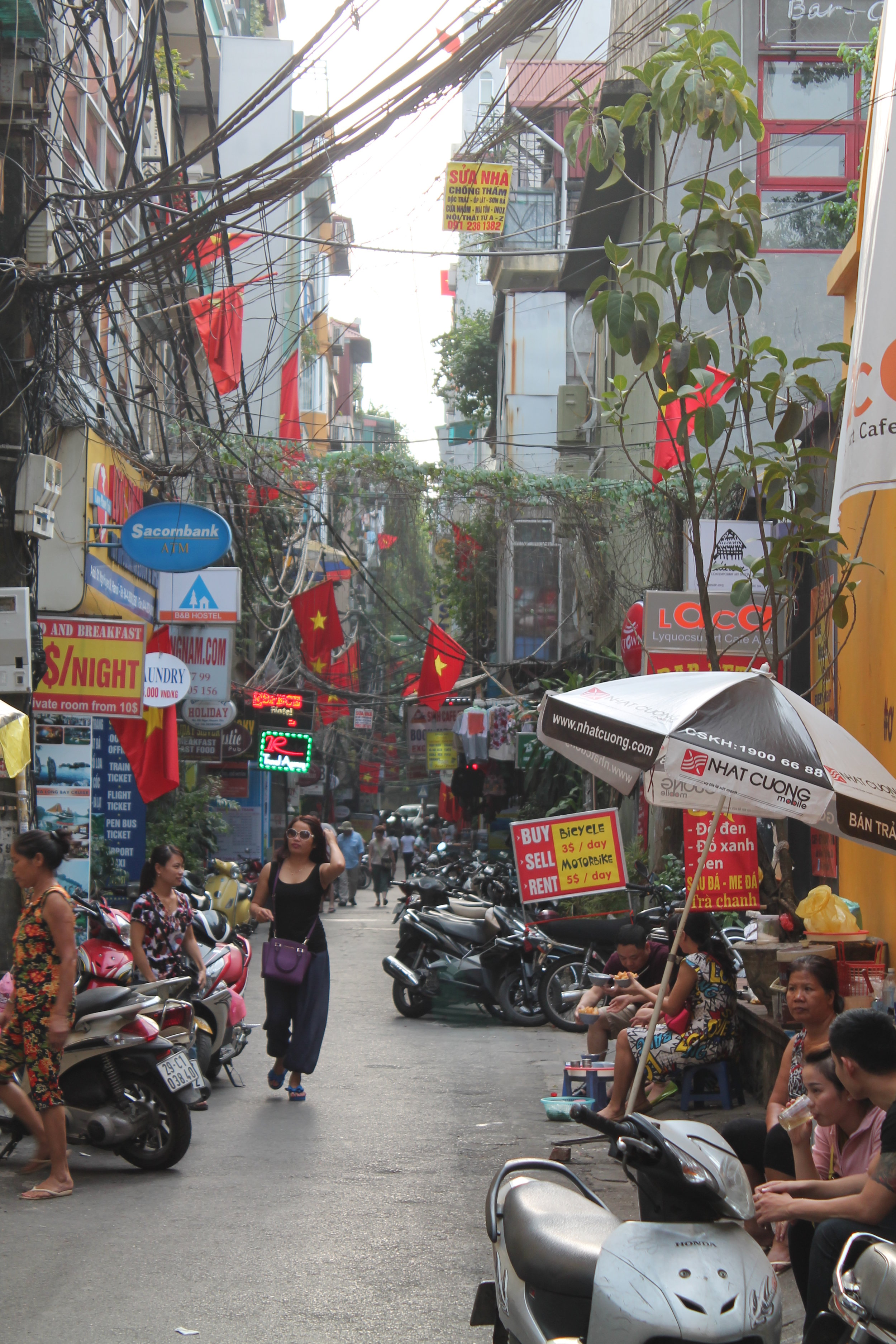 Crowded, but clean. Typical street view in the Old Quarter, Hanoi.