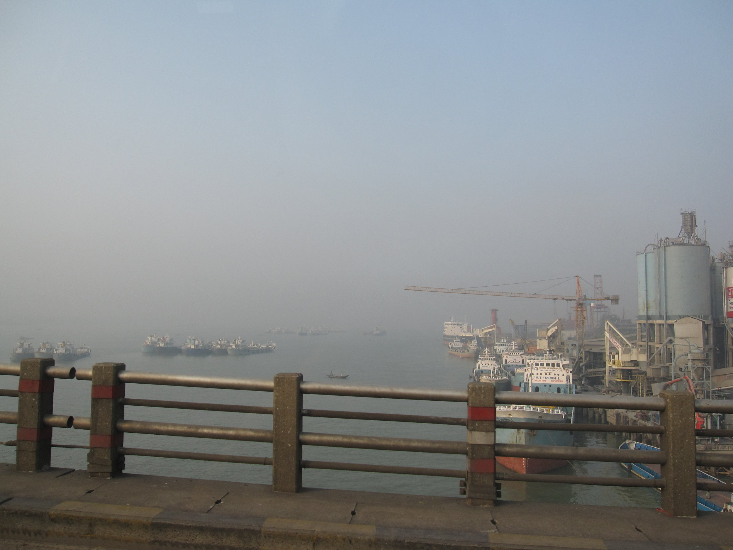 Ships on the Meghna, east of Dhaka. Rivers facilitate a huge amount of trade for rural Bangladesh, but simultaneously isolate entire regions from the prosperity bridges could bring.