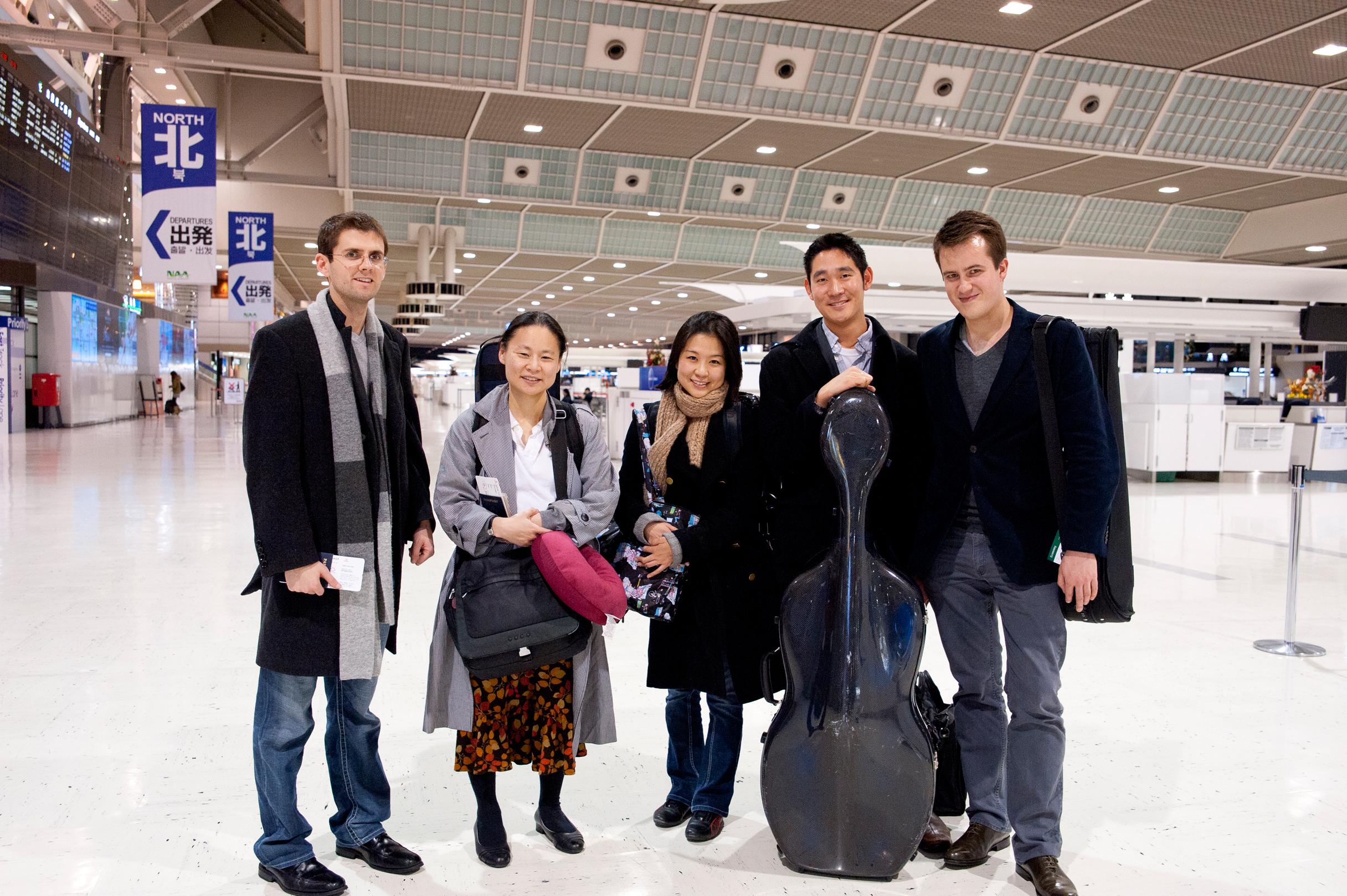 with Midori Goto, Samika Honda, Hiro Matsuo, and Will Frampton at Narita Airport in Tokyo. Photo by Shinobu Suzuki.