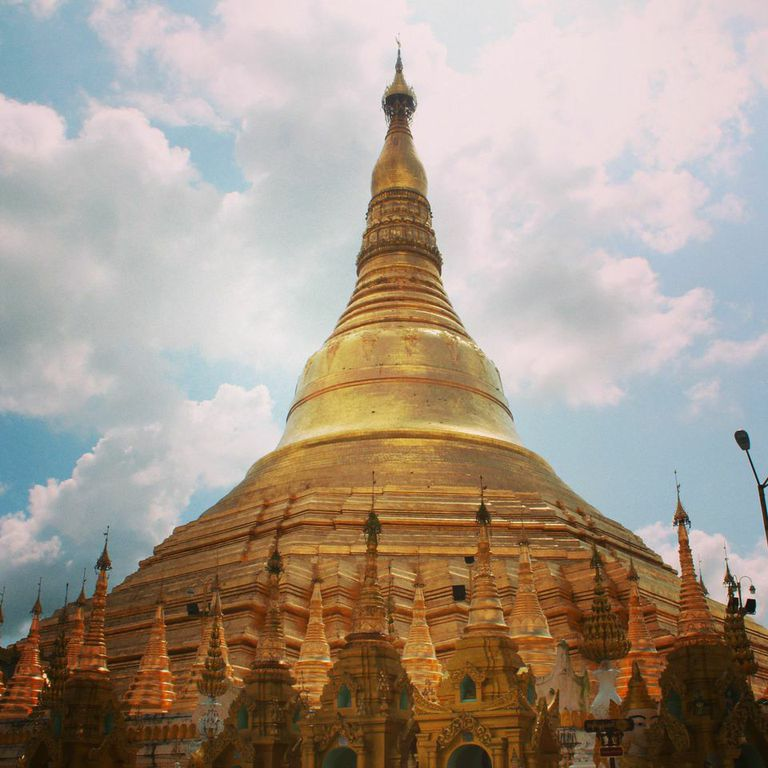 The Shwedagon shimmers in the October sun. Photo by Sarah Ngo.