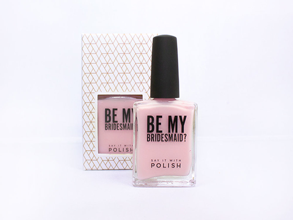 """""""Be My Bridesmaid?"""" nail polish In a creamy, light pink perfect for the wedding day. Say It With Polish is 5-free, cruelty free & vegan."""
