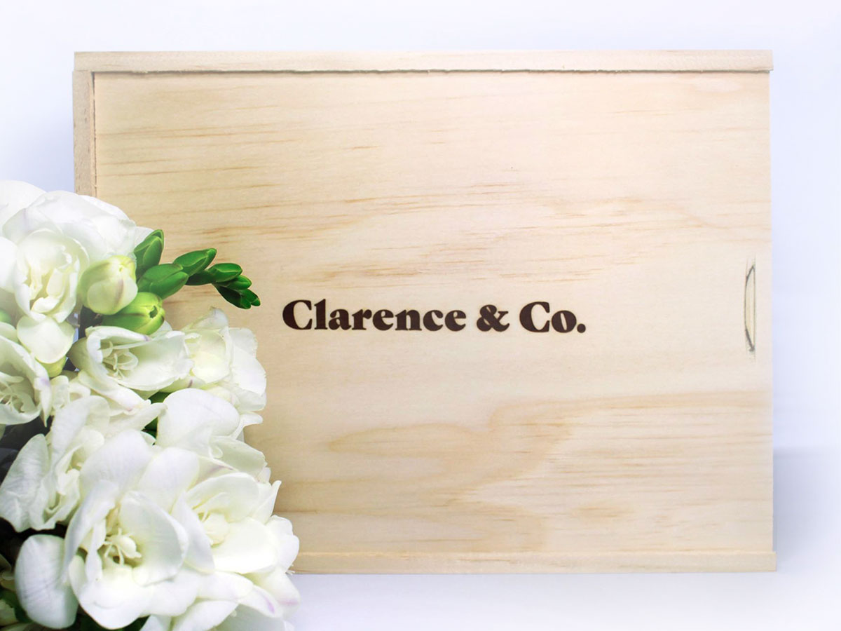 Clarence & Co. Box  The Clarence and Co. Bridesmaid Collections are beautifully packaged in our New Zealand-made pine plywood gift boxes and wrapped with ribbon. We love that these boxes can be reused for a lifetime.