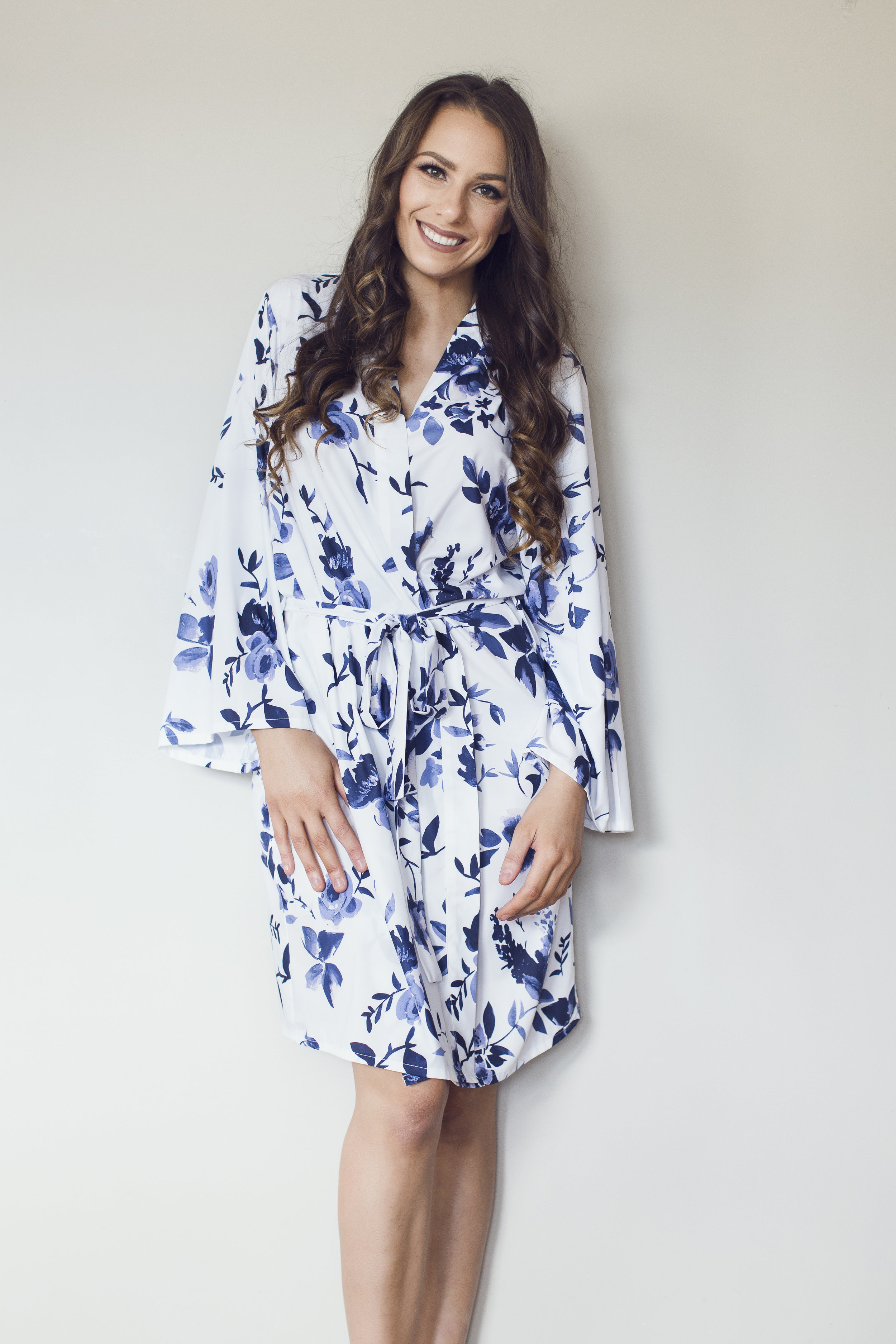 Blue floral bridesmaids robe NZ